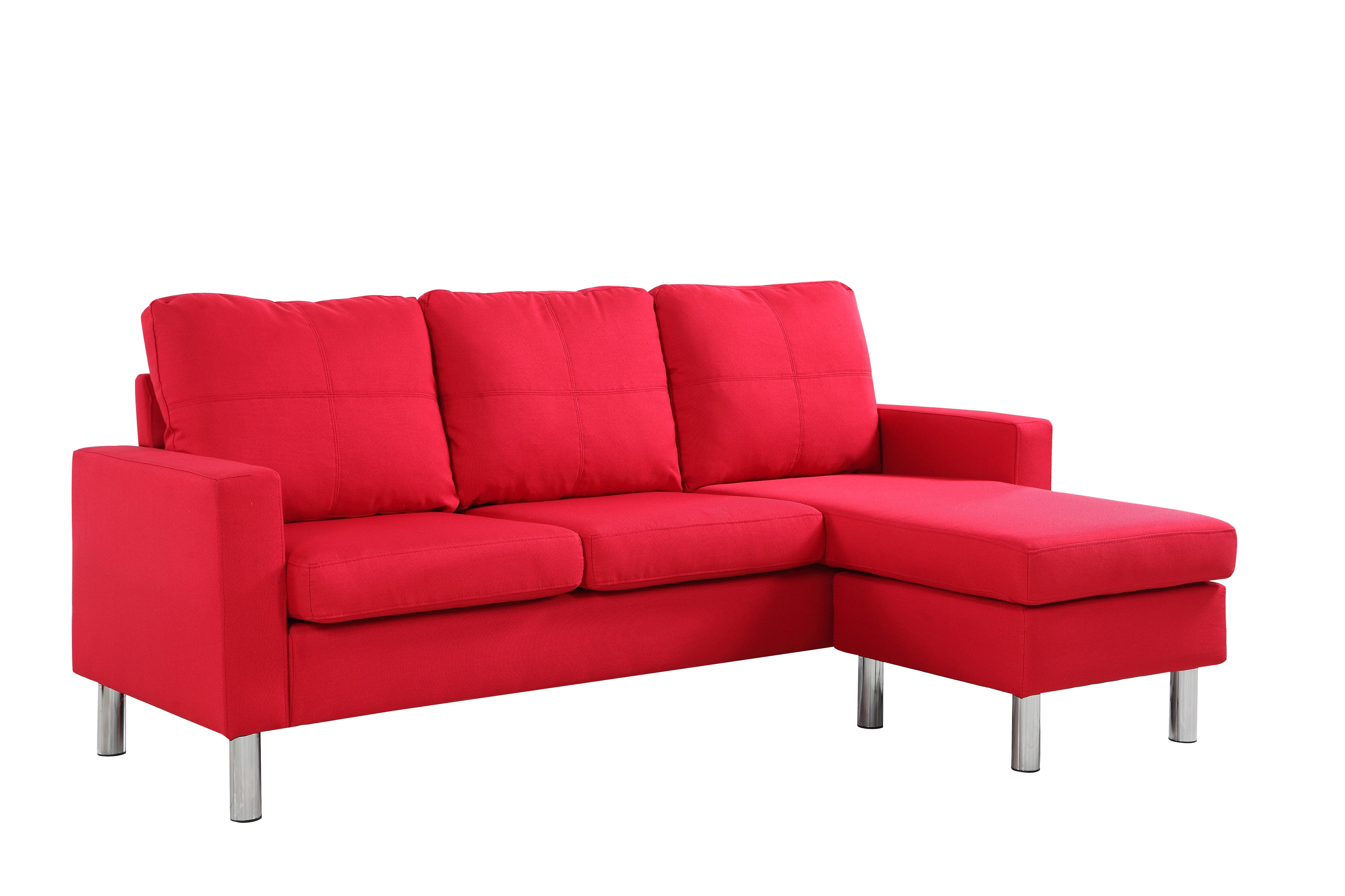 Modern Small Space Reversible Linen Fabric Sectional Sofa