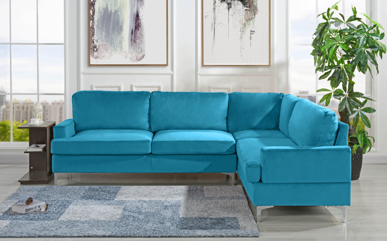 Sensational Details About Velvet 101 1 Inch Sectional Sofa Classic Living Room L Shape Couch Sky Blue Dailytribune Chair Design For Home Dailytribuneorg
