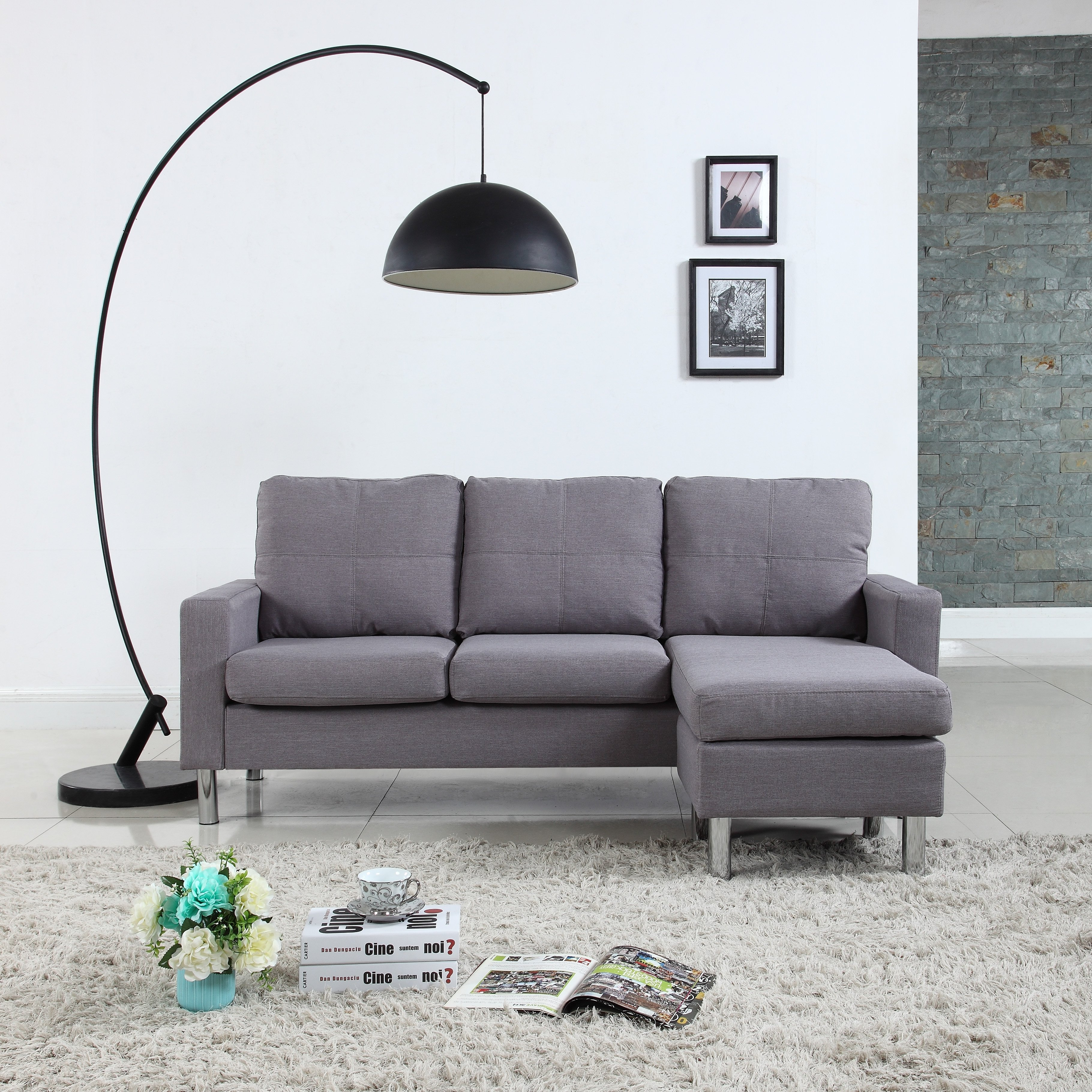 Sectional Couch Light Gray: Modern Living Reversible Fabric Sectional Sofa, Light Grey