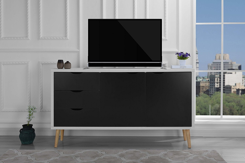 Modern Wooden Tv Stand Mid Century Cabinet With Drawers Dark Grey