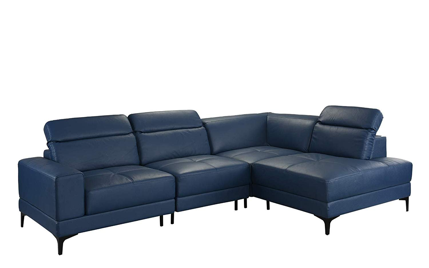 Details about Large Modern Leather Sectional Sofa, Adjustable Living Room  L-Shape Couch (Blue)
