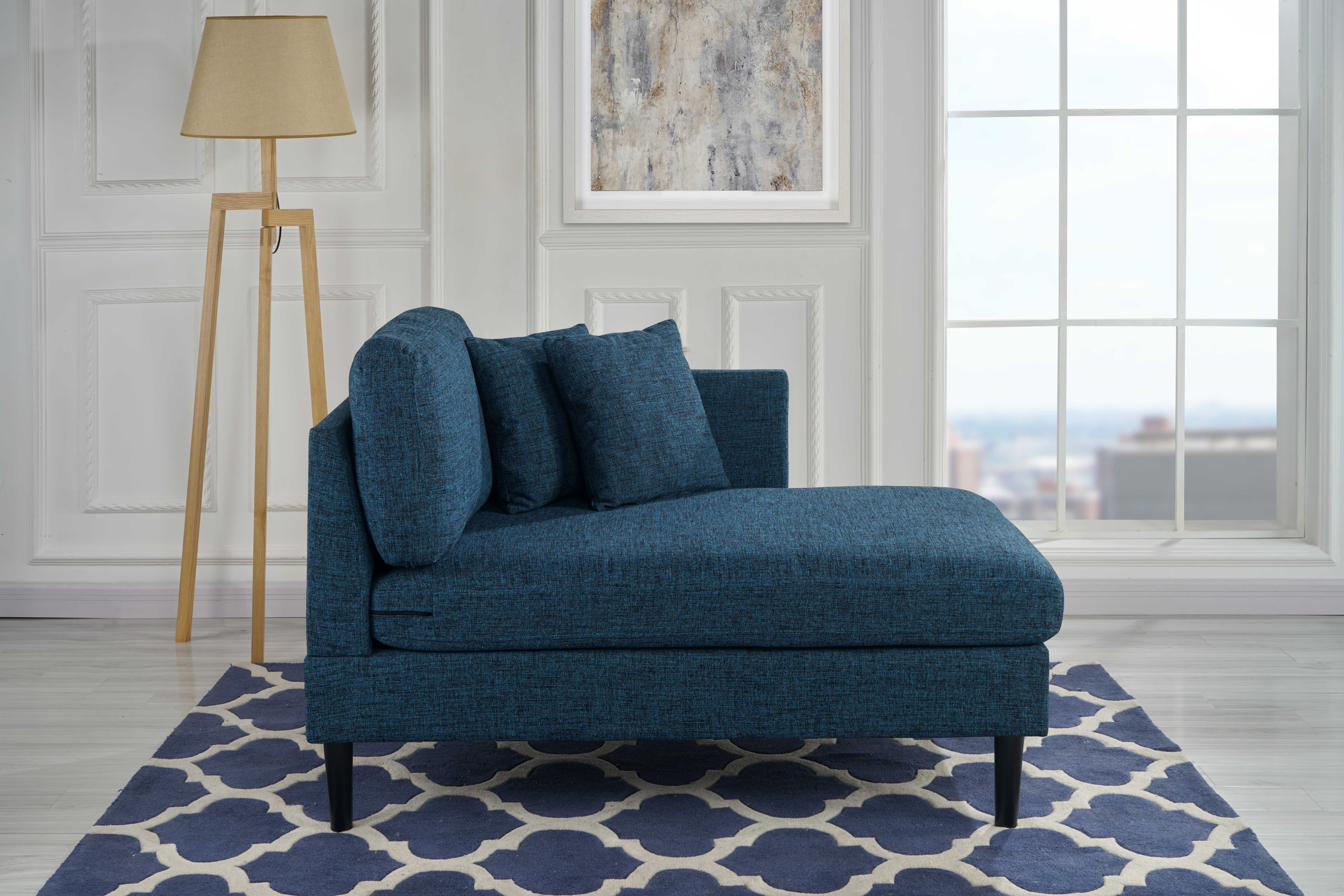 Details about Classic Linen Fabric Chaise Lounge for Living Room/Bedroom  (Blue)
