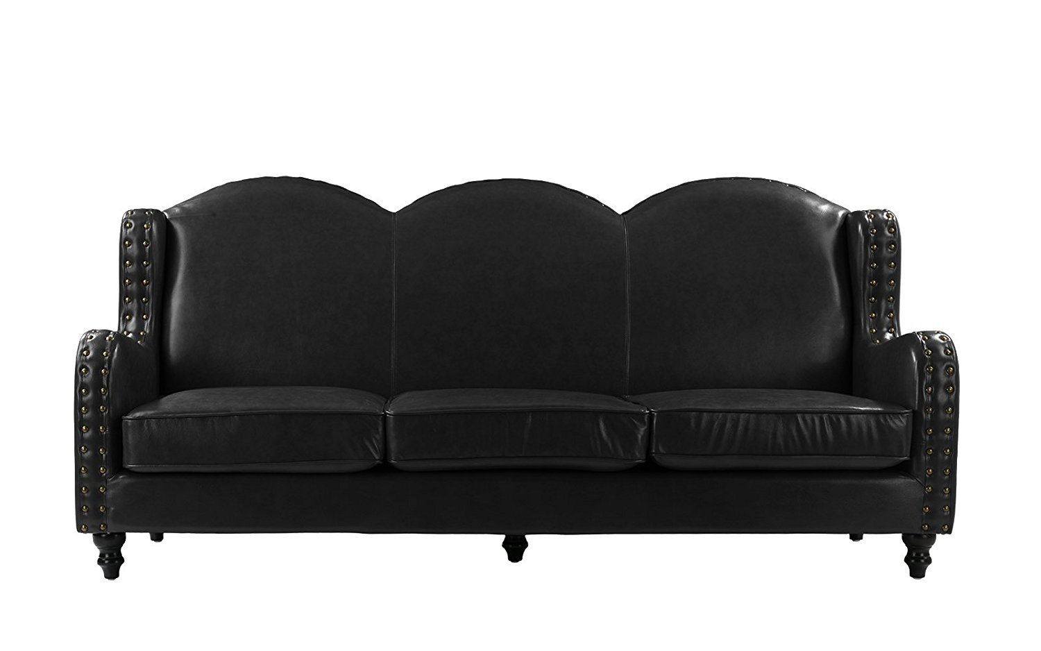 Details about Black Leather Sofa 3 Seater, Living Room Couch, Loveseat for  3 Nailhead Trim