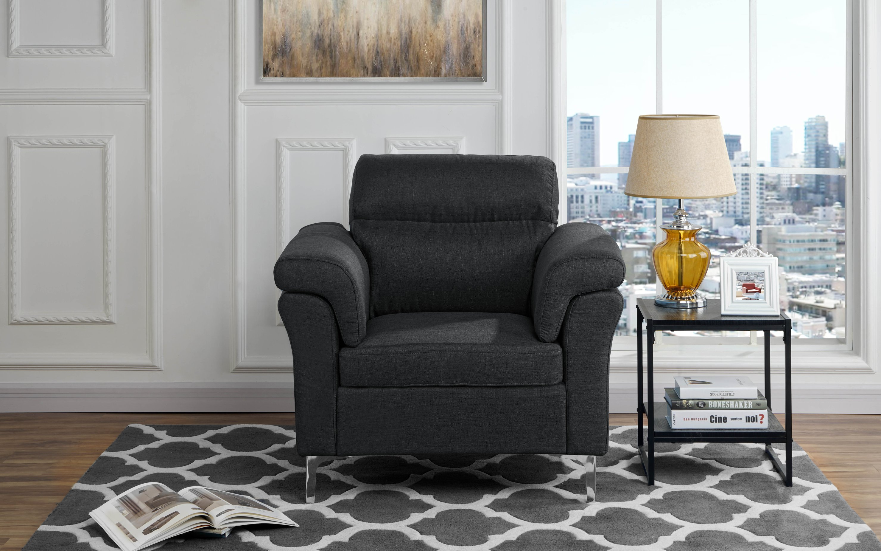 Details about contemporary living room family room fabric armchair accent chair black
