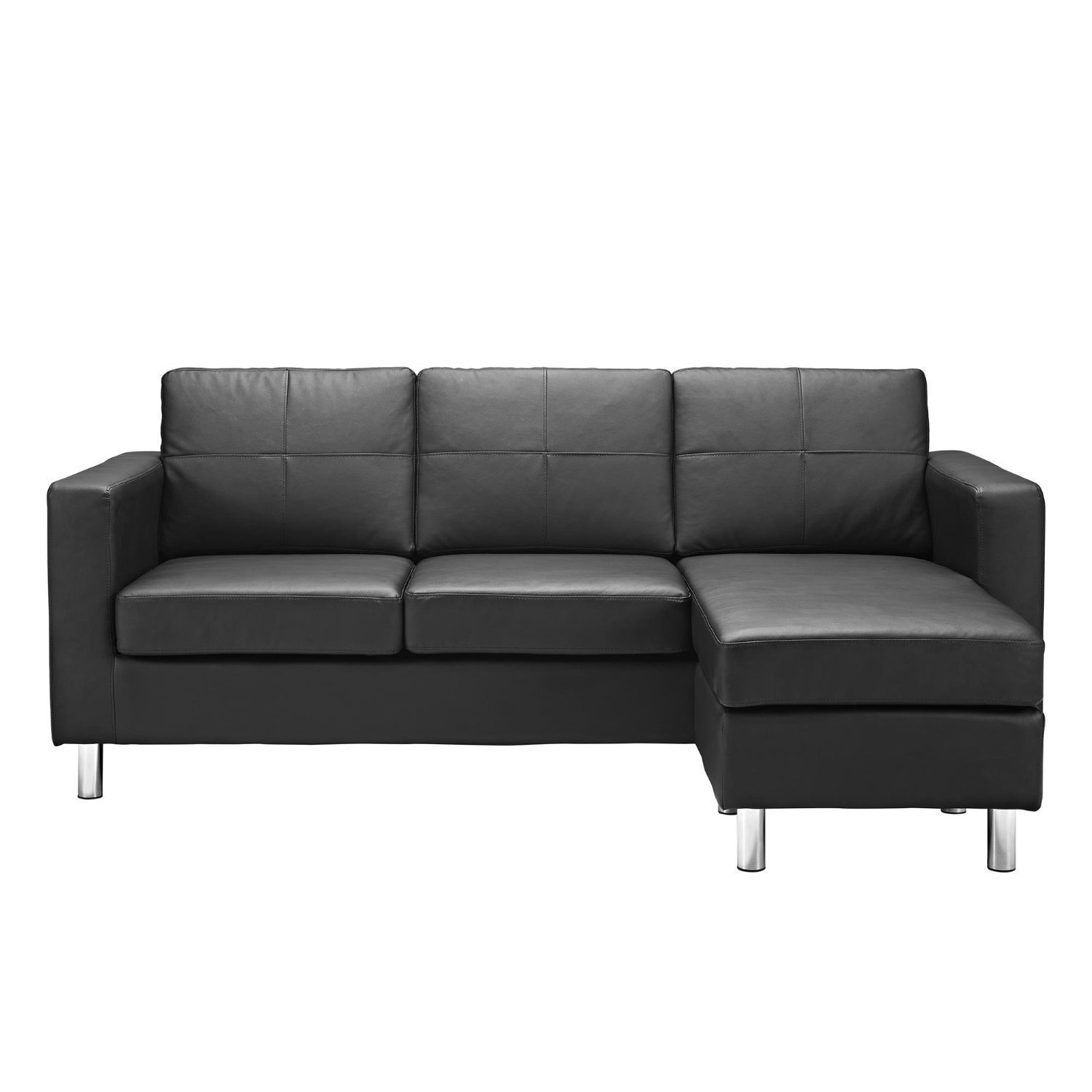 Black Modern Bonded Leather Sectional Sofa - Small Space ...