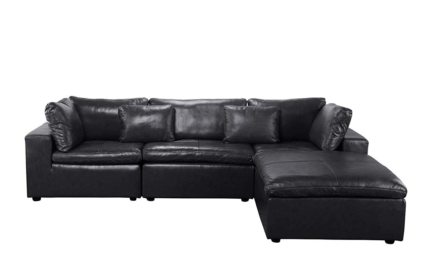 Large Leather Sectional Sofa L Shape Couch With Wide Chaise Black