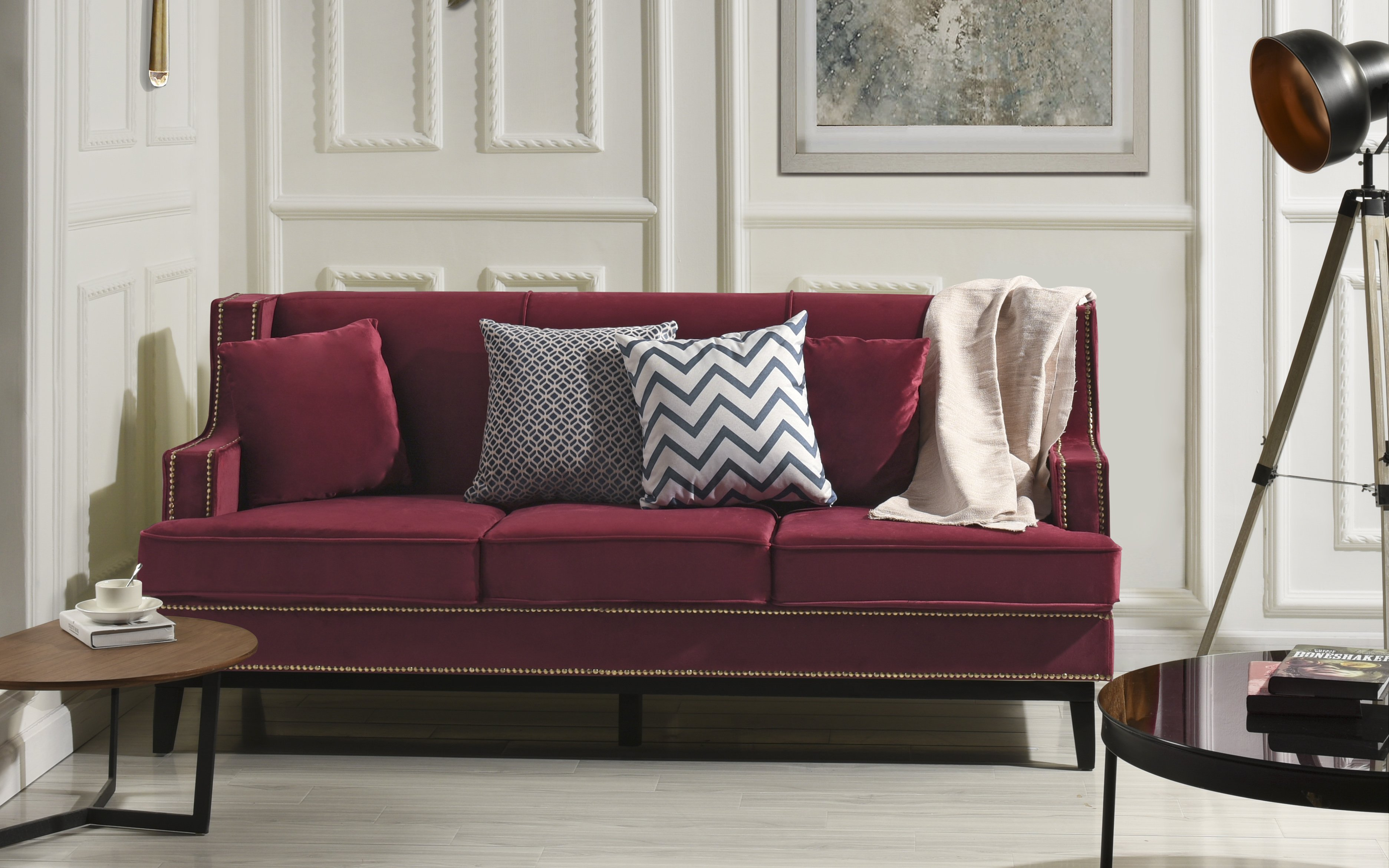 Details about Modern Vintage Style Soft Velvet Sofa, Couch with Nailhead  Trim Detail (Red)