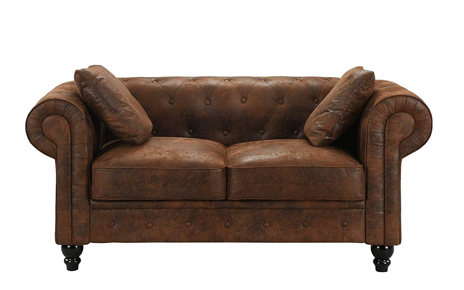 Details about Distressed Rustic Chesterfield Faux Suede Loveseat Sofa 2  Seat Couch, Brown