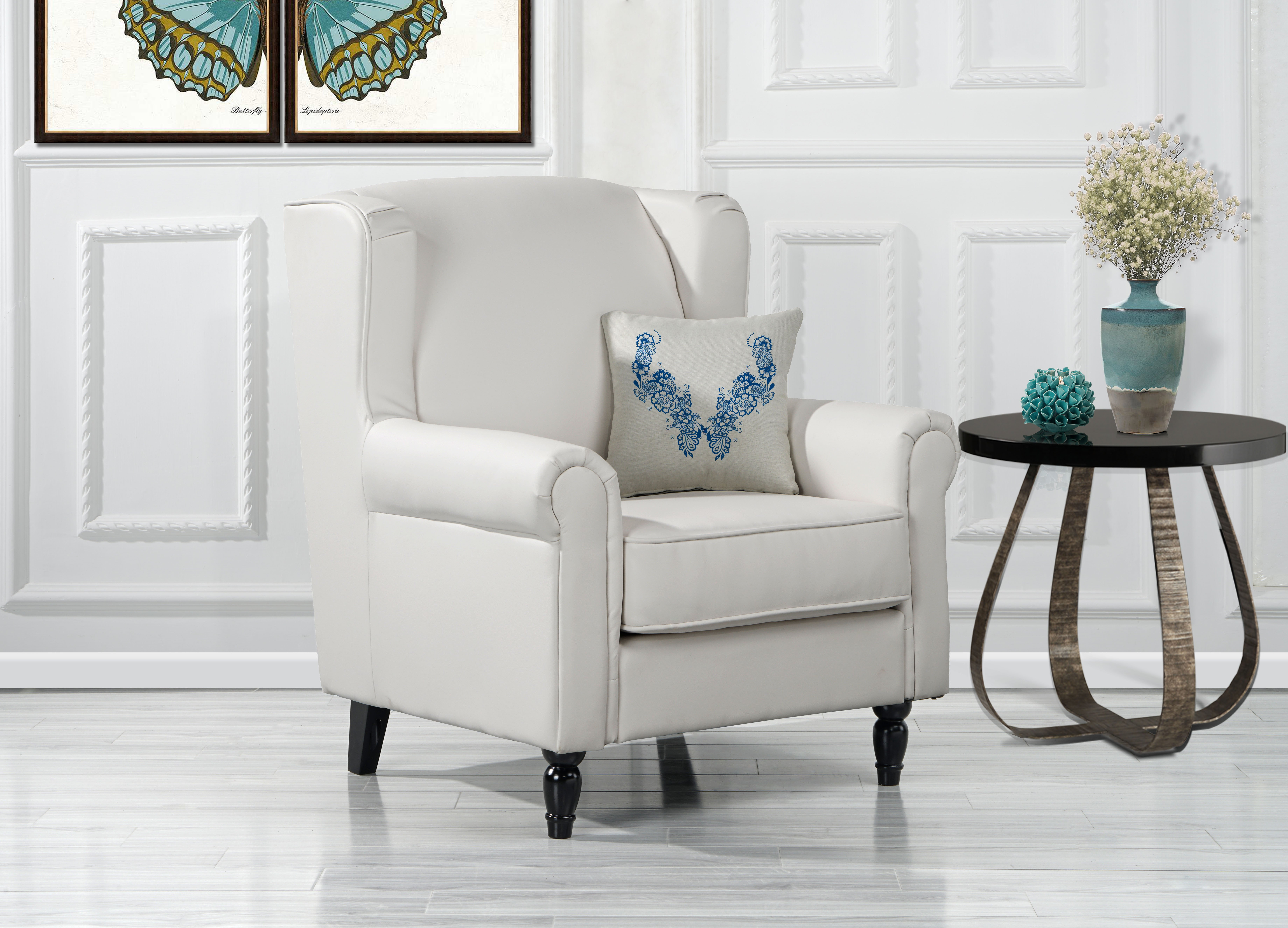 Classic Scroll Arm Faux Leather Accent Chair  Living Room Armchair  White 649862749582