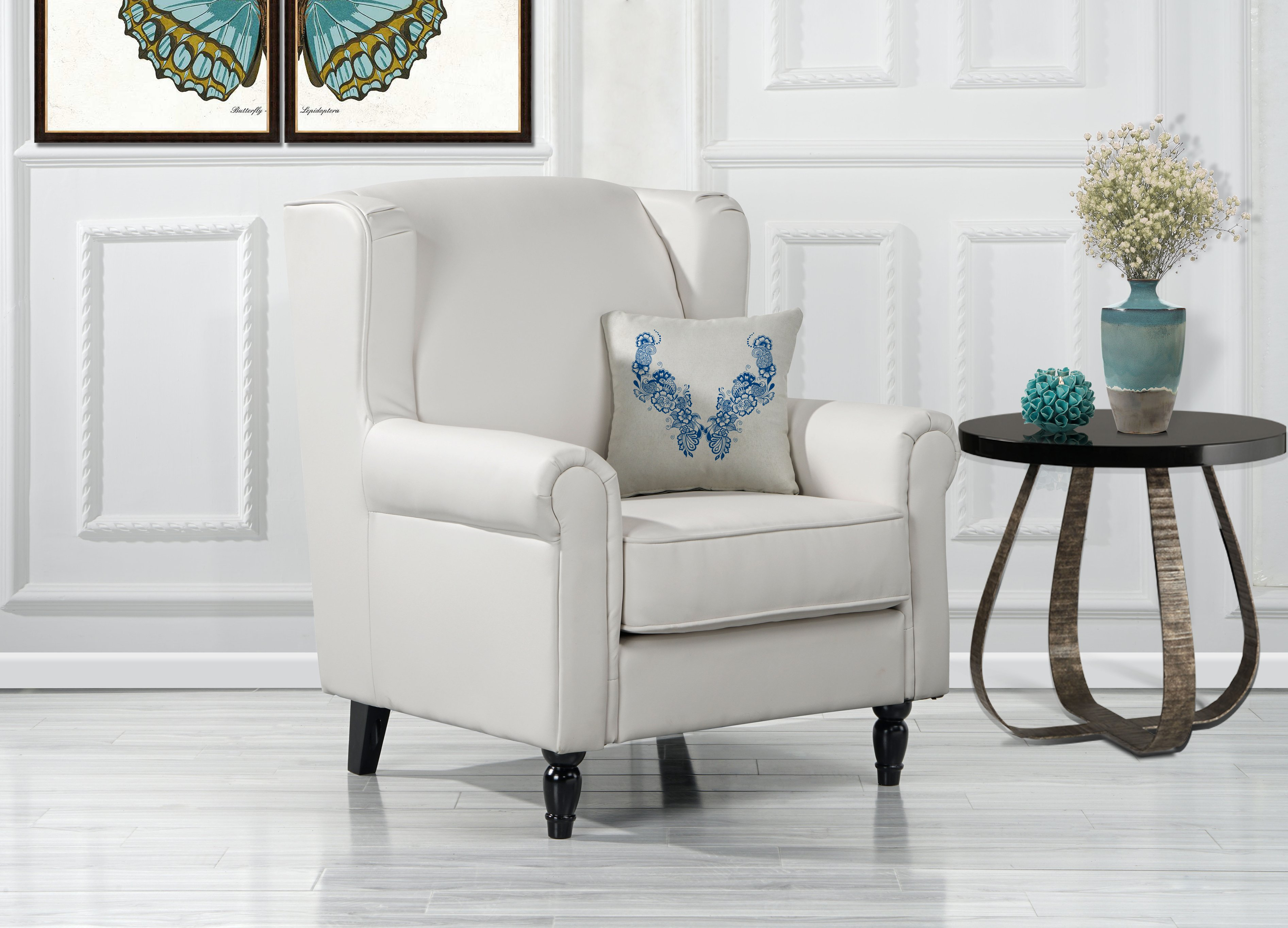 Classic Scroll Arm Faux Leather Accent Chair, Living Room ...