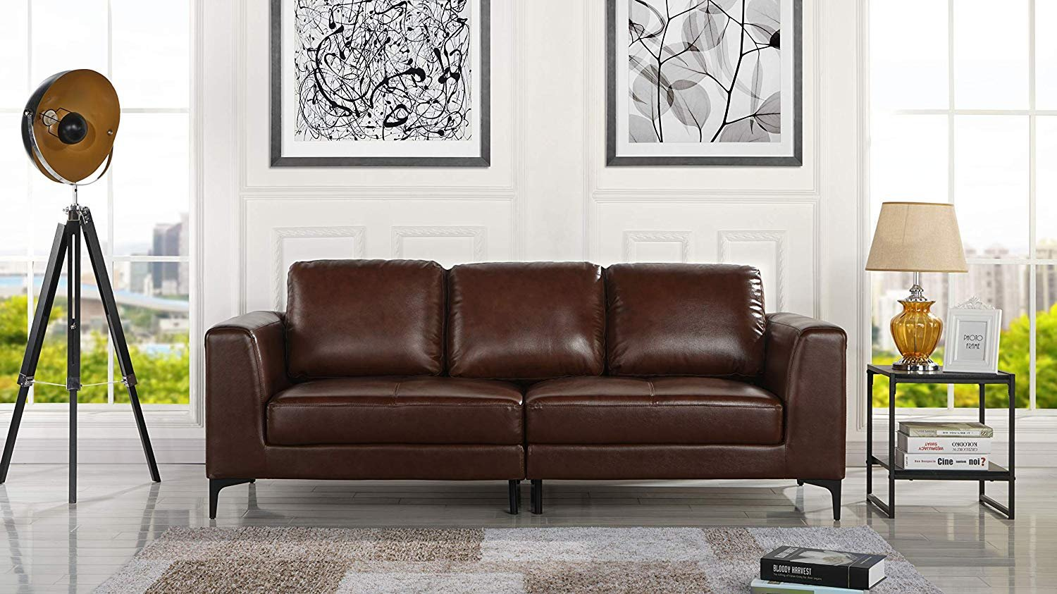 - Mid Century Modern Leather Fabric 3 Seat Sofa, Couch 81.1
