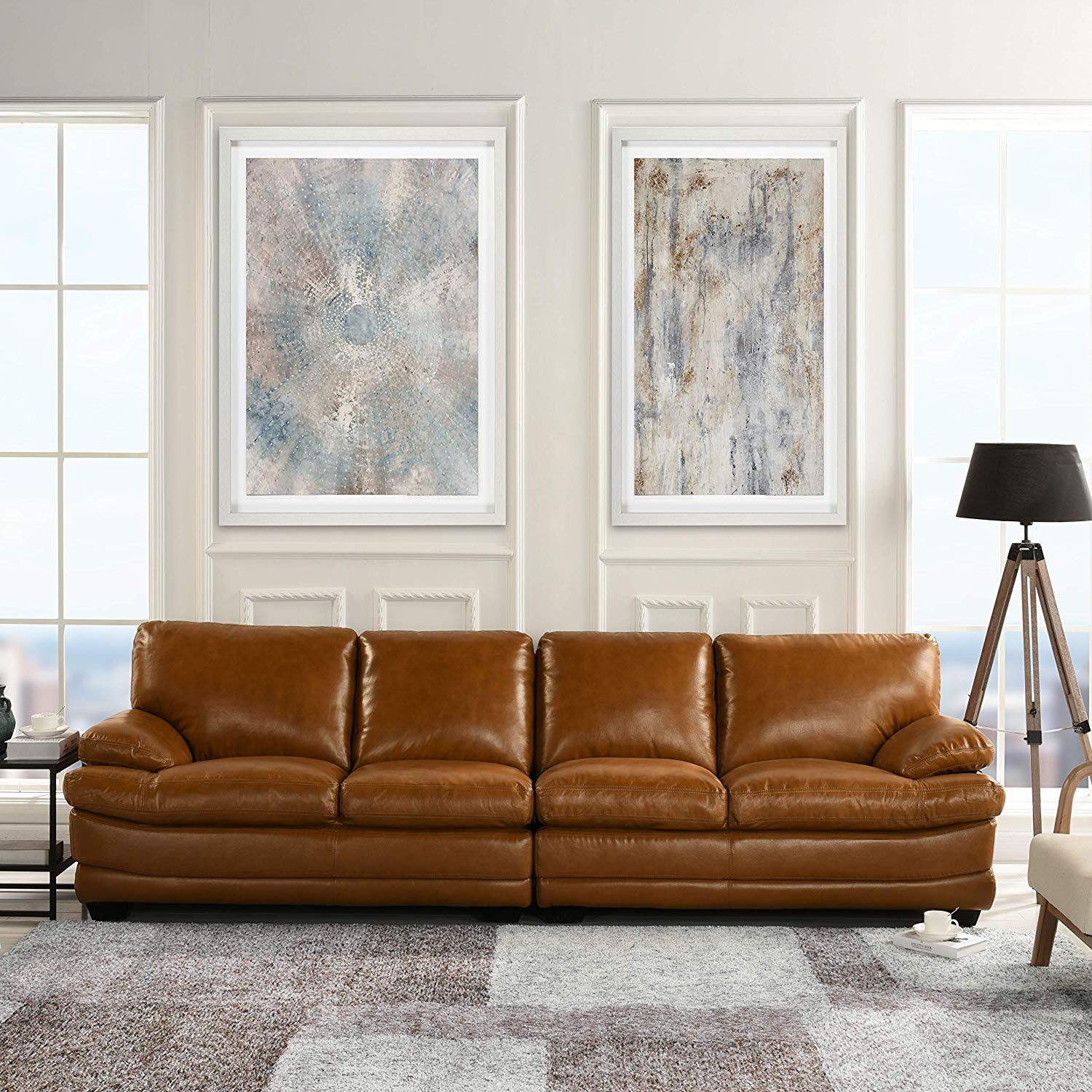 Details about Classic Large Leather Sofa, 111\