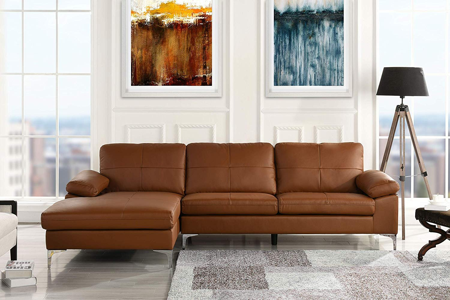 Details about Camel Leather Match Family Room Sectional Sofa, L-Shape Couch  with Left Chaise