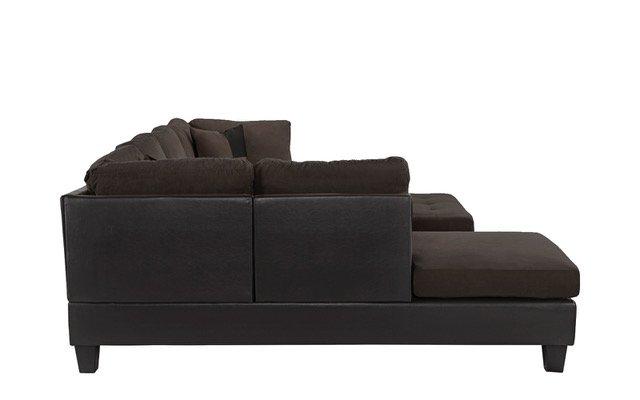 sofa microfiber sectional faux piece 3pc chocolate