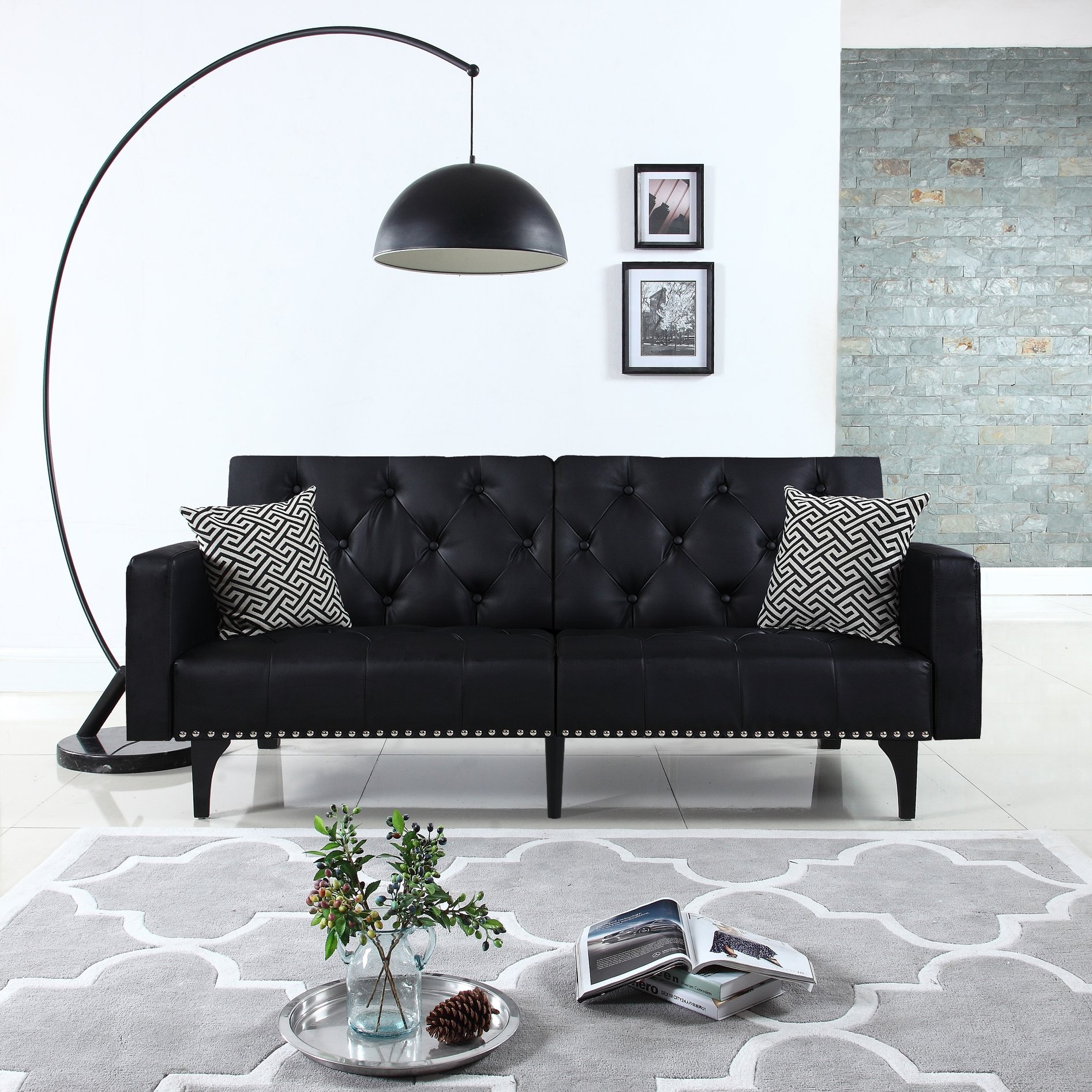 Incredible Details About Modern Tufted Bonded Leather Sleeper Futon Sofa With Nailhead Trim In White Evergreenethics Interior Chair Design Evergreenethicsorg