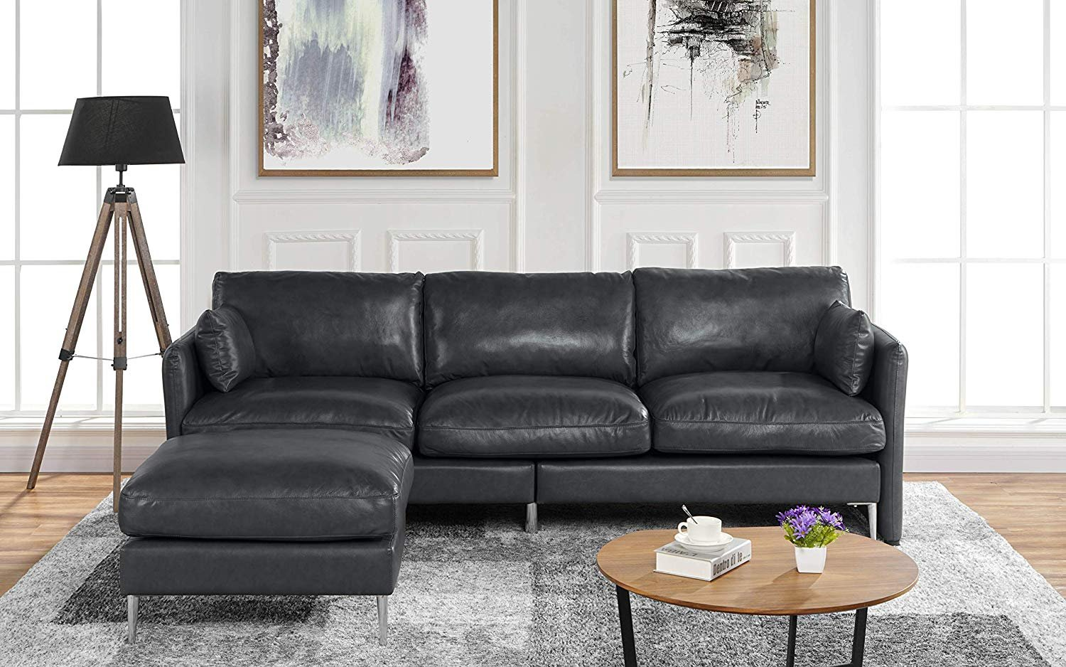 Details about Modern Leather Sectional Sofa, Reversible L Shape Couch,  93.7\
