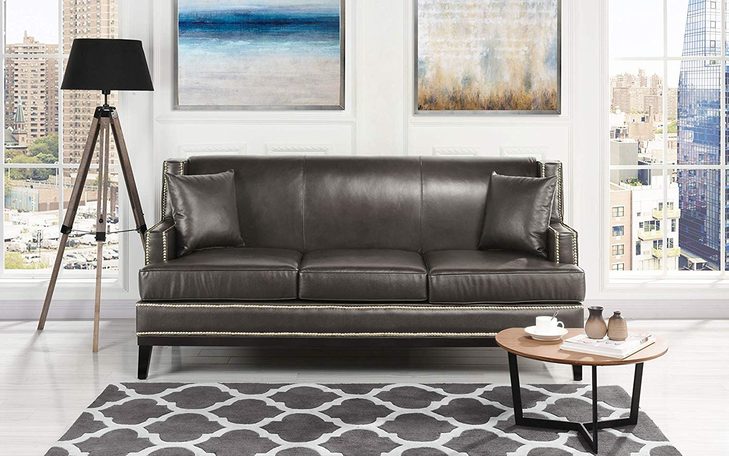 Details about Classic Leather Sofa Nailhead Trim Detail, Modern Couch (Grey)
