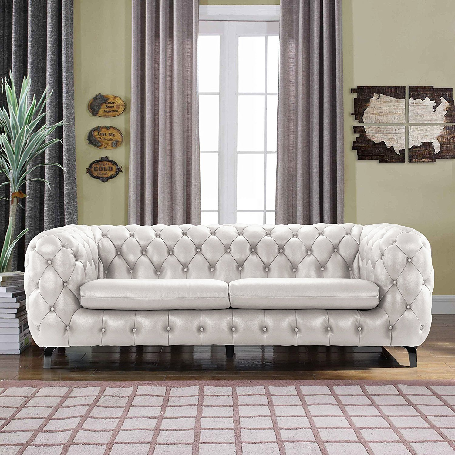 Stupendous Details About Modern Club Frame Sofa Real Leather Match Tufted Chesterfield Couch Ivory Machost Co Dining Chair Design Ideas Machostcouk