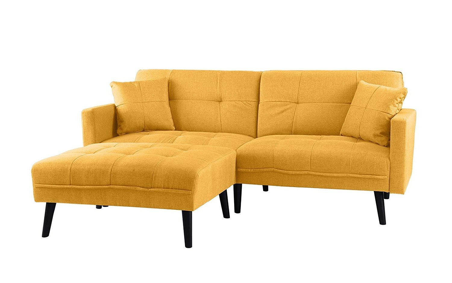 new style 49b04 698e4 Details about Mid-Century Modern Linen Fabric Futon Sofa Bed, Living Room  Couch Sleeper Yellow