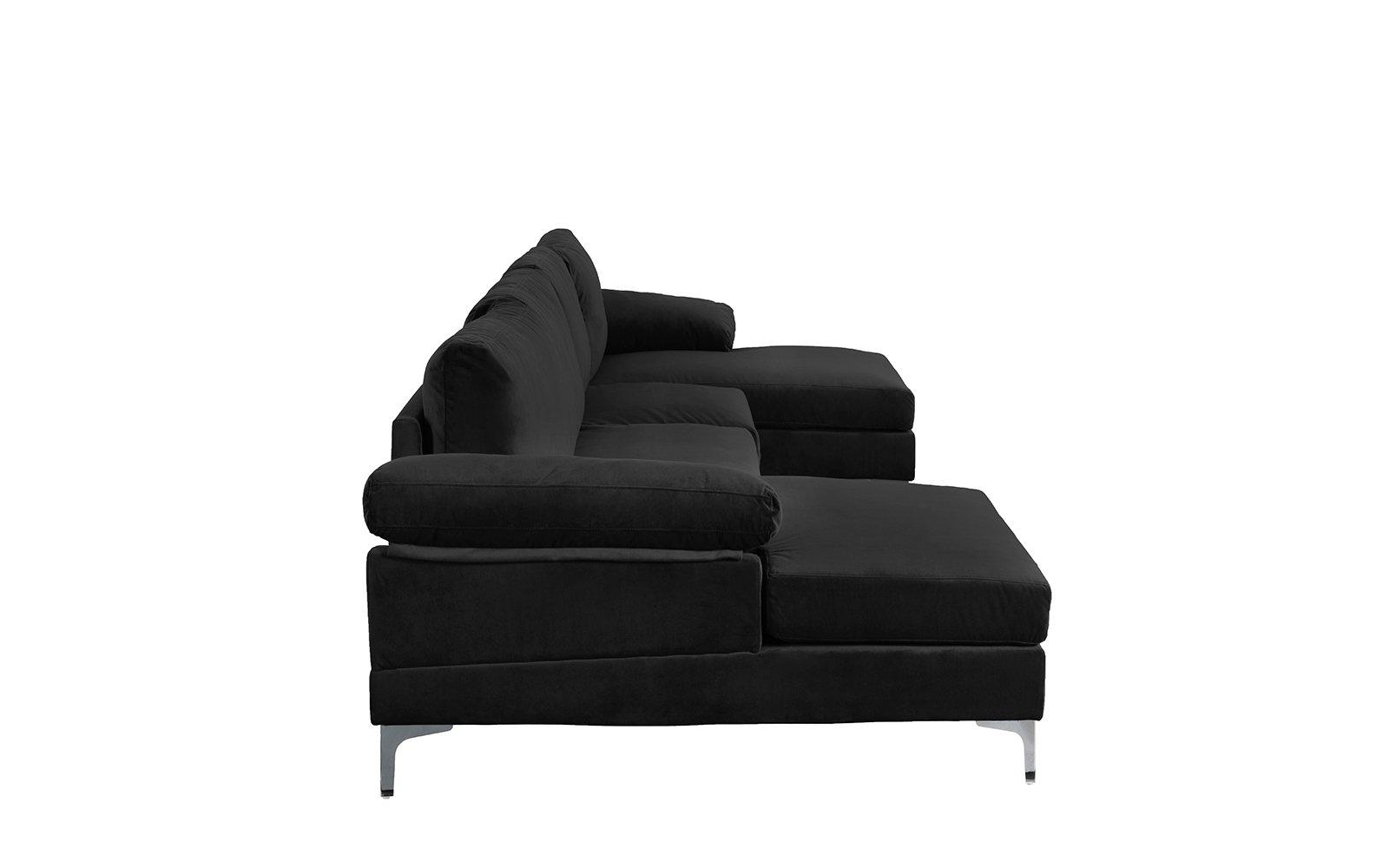 Black Large Velvet Fabric U-Shape Sectional Sofa Double ...