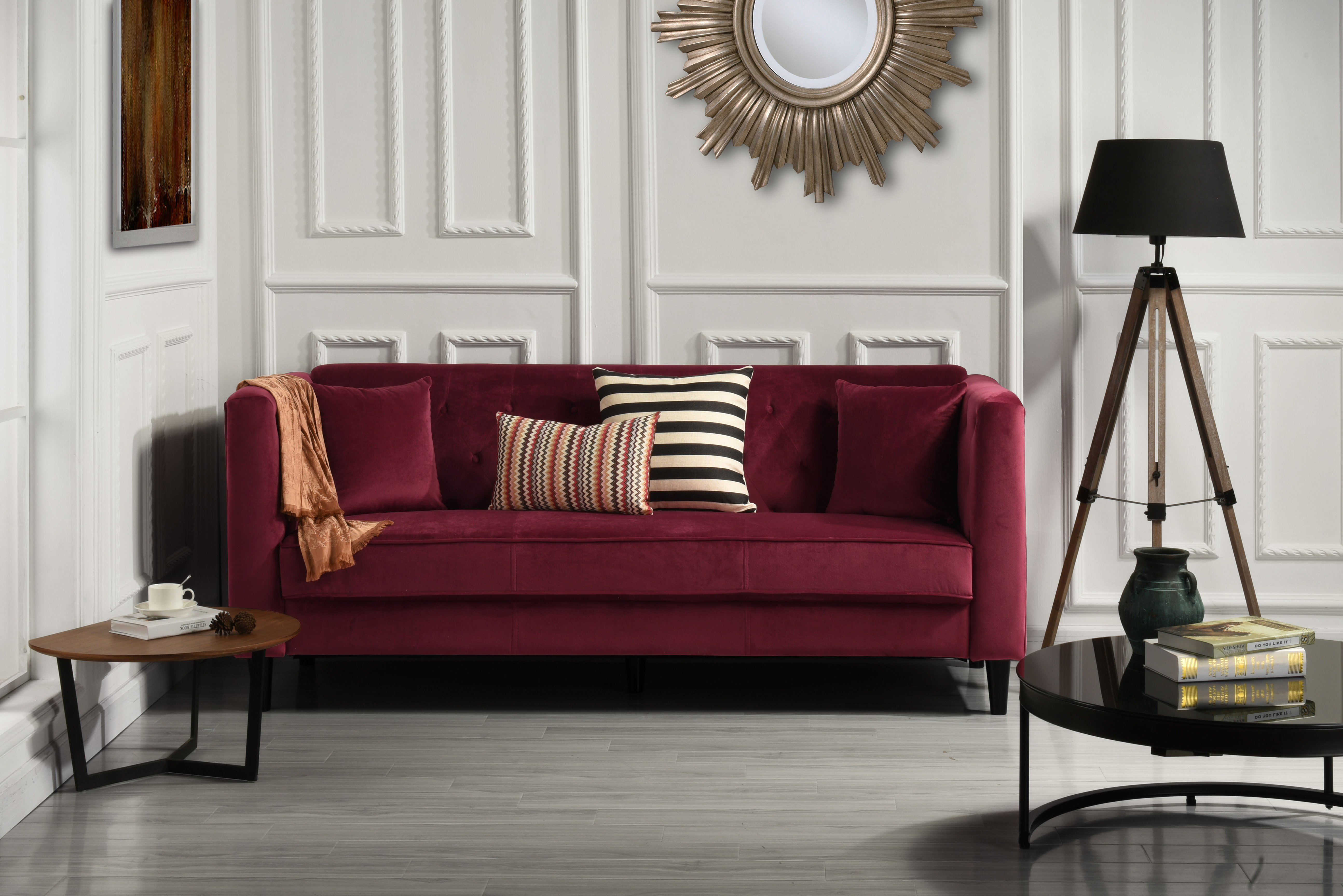 Details about Mid-Century Ultra Modern Velvet Sofa, Living Room Couch  Tufted Buttons, Red