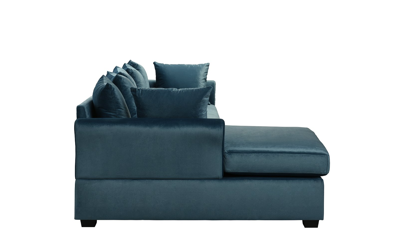 Fine Details About Teal Blue Velvet Sectional Sofa W Loose Back Pillows Left Facing Chaise Lounge Onthecornerstone Fun Painted Chair Ideas Images Onthecornerstoneorg