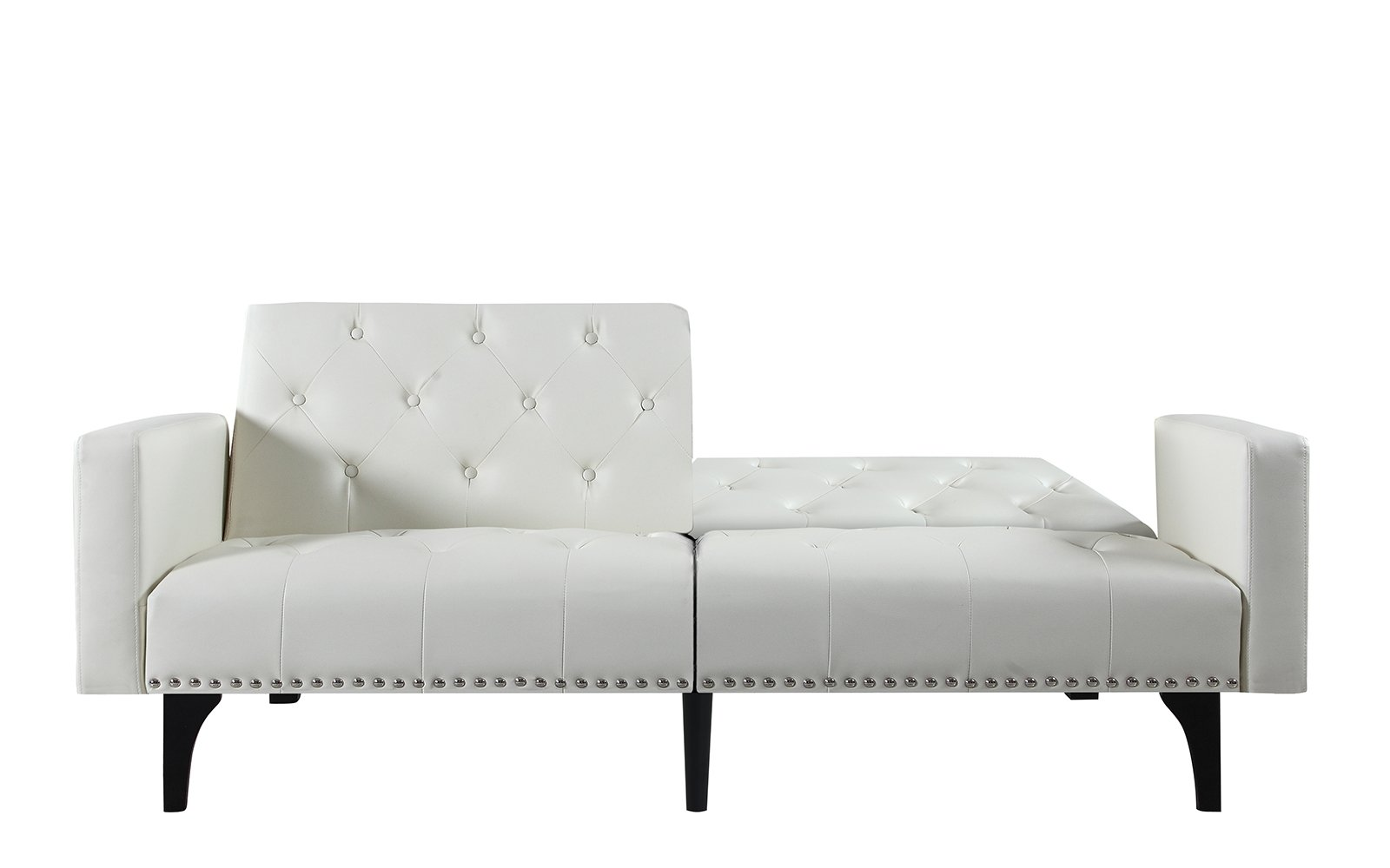 Modern Splitback Tufted Sleeper Futon Sofa Nailhead Trim
