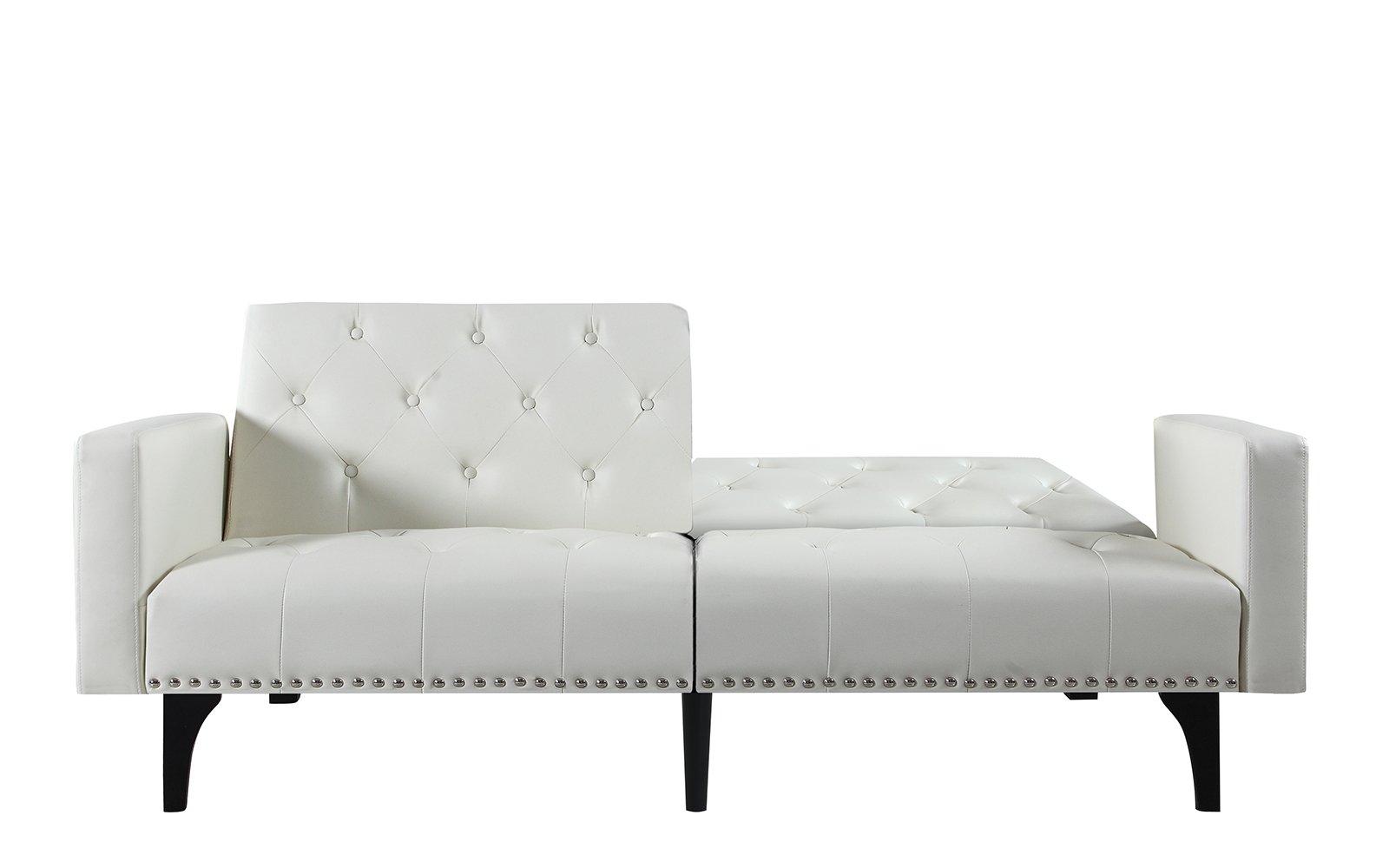 Tremendous Details About Split Back Futon Sofa In Bonded Leather Nailhead Trim Tufted Seats Back White Evergreenethics Interior Chair Design Evergreenethicsorg