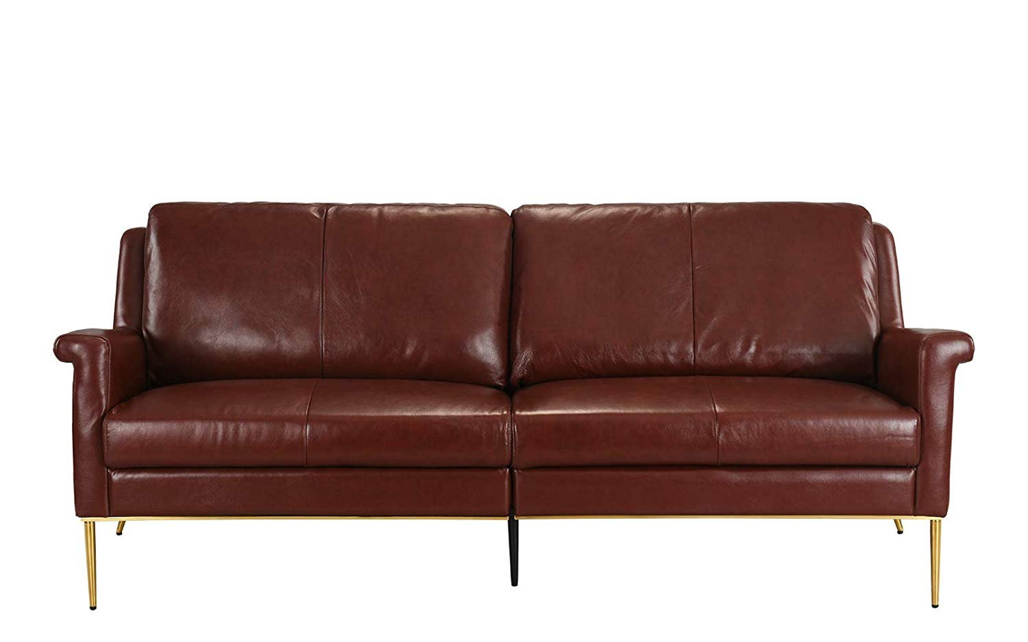 Details About Mid Century Leather Sofa Living Room Couch Leather Match Fabric Brown