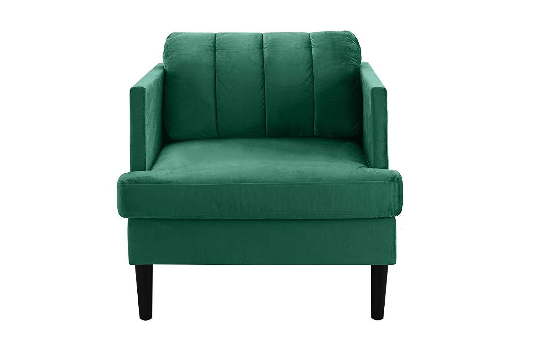 Mid Century Modern High Density Velvet Armchair Living Room Accent