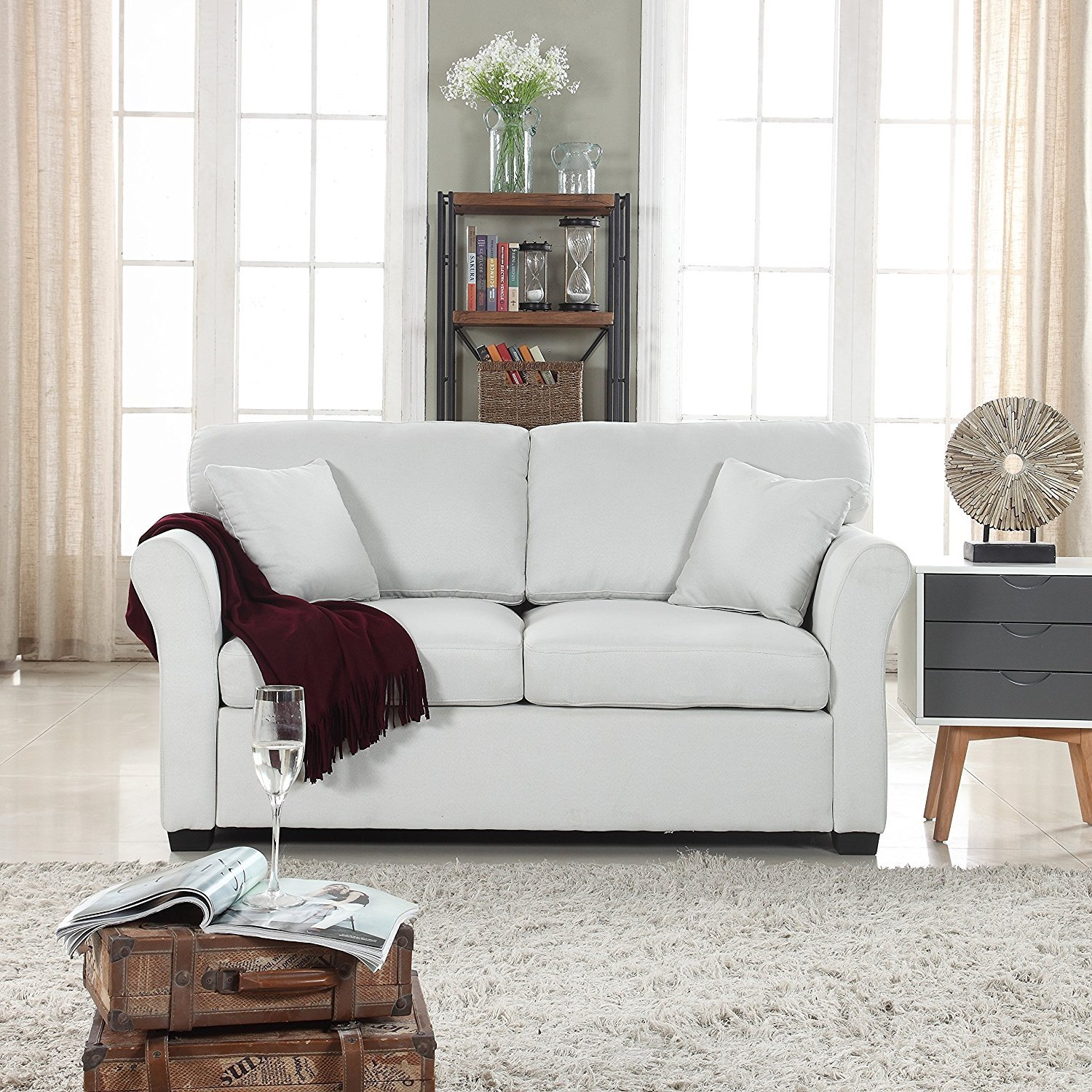 Details about small space beige loveseat sofa comfortable fabric living room love seat