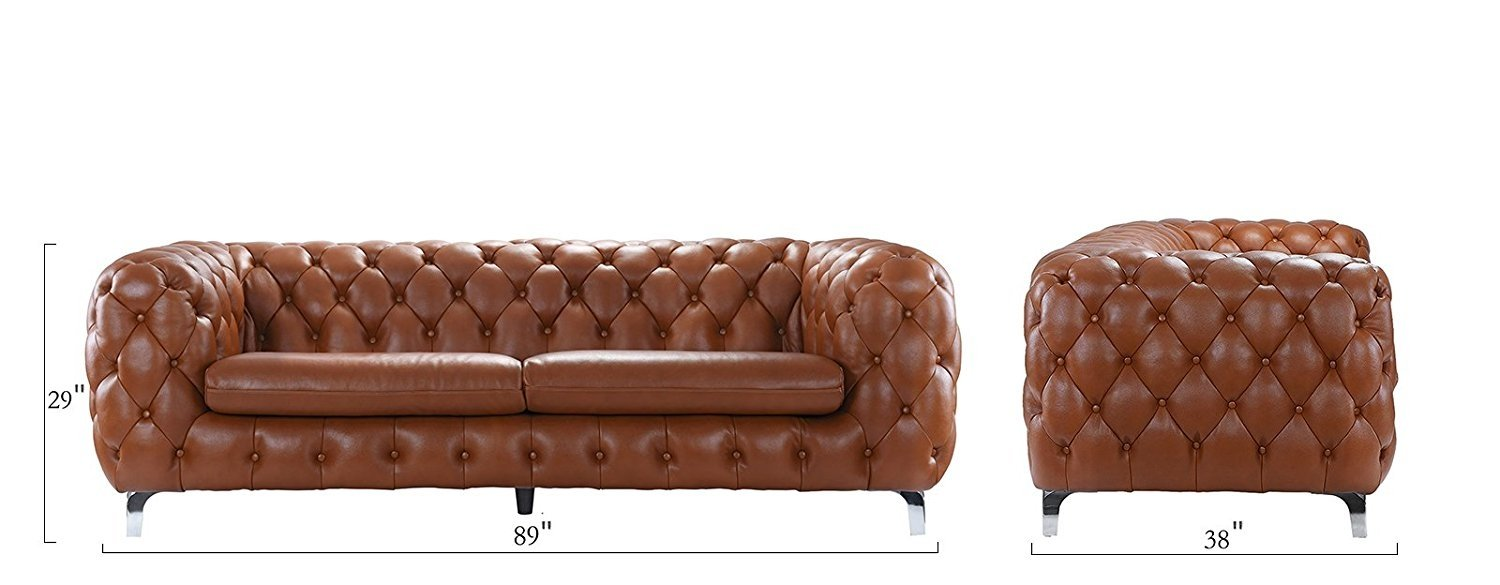Details About Camel Contemporary Club Frame Sofa Leather Tufted Chesterfield Couch