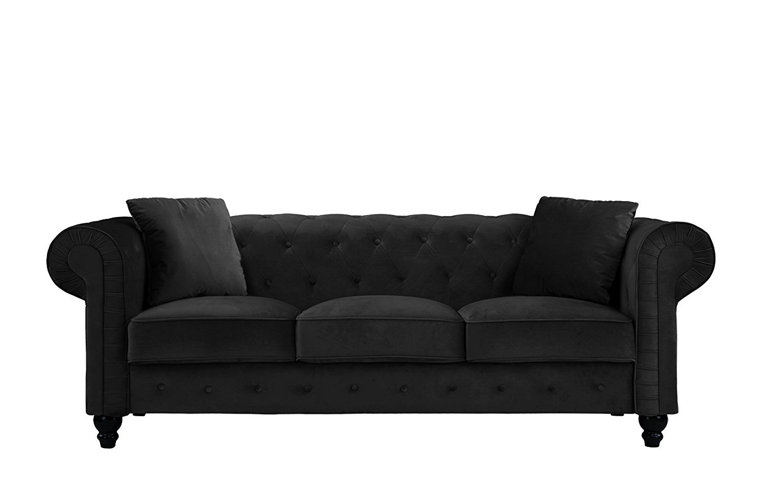 Classic Velvet Sofa Scroll Arm Tufted Button Chesterfield