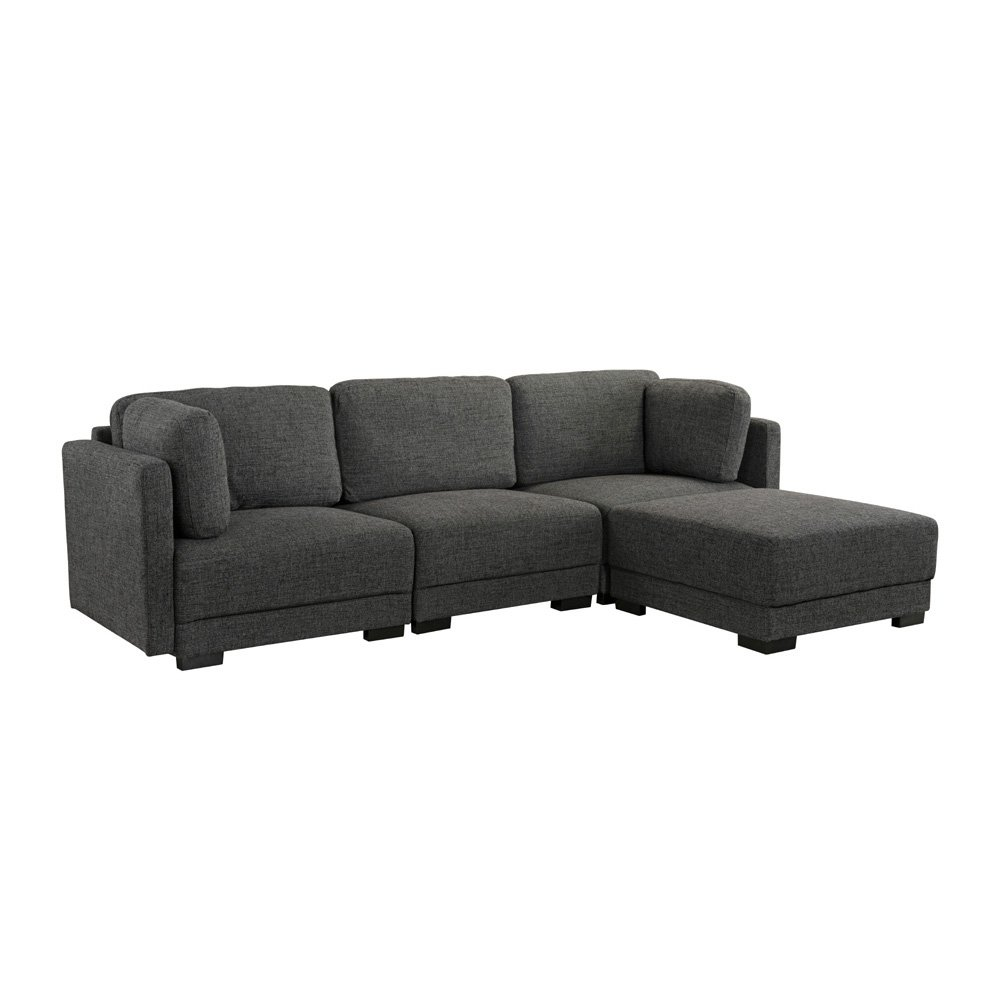 Details about Contemporary L-Shape Sectional Sofa Linen Fabric High Density  Soft Foam Black