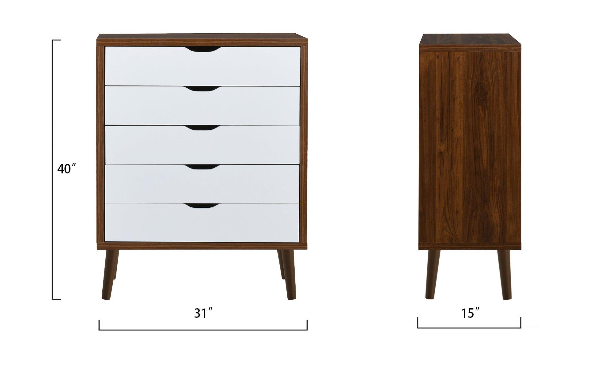 mid century modern home decor entryway dresser chest of drawers brown white 649862752704 ebay. Black Bedroom Furniture Sets. Home Design Ideas