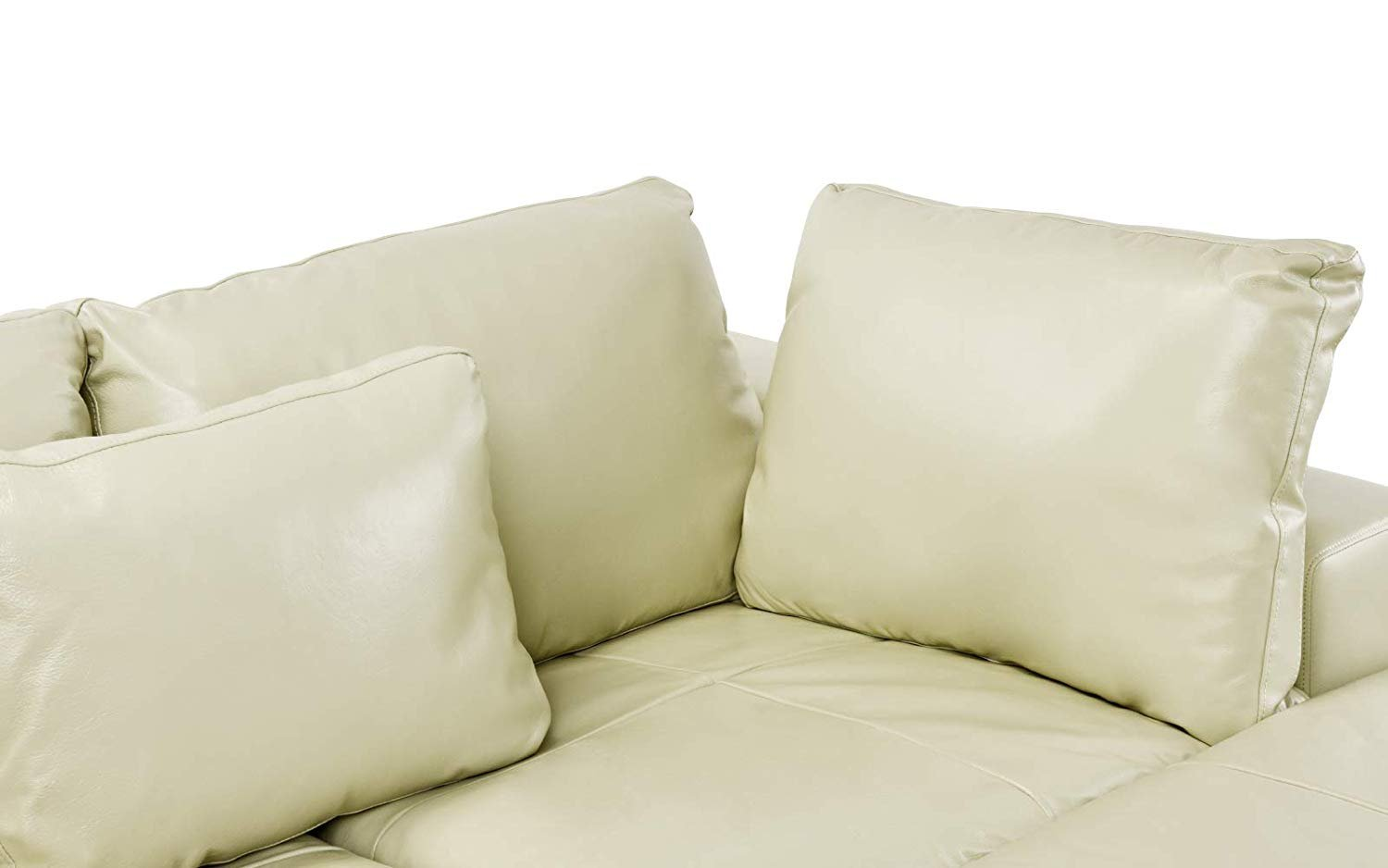 leather lounge sectional sofa l shape couch with wide chaise beige 662187615271 ebay. Black Bedroom Furniture Sets. Home Design Ideas