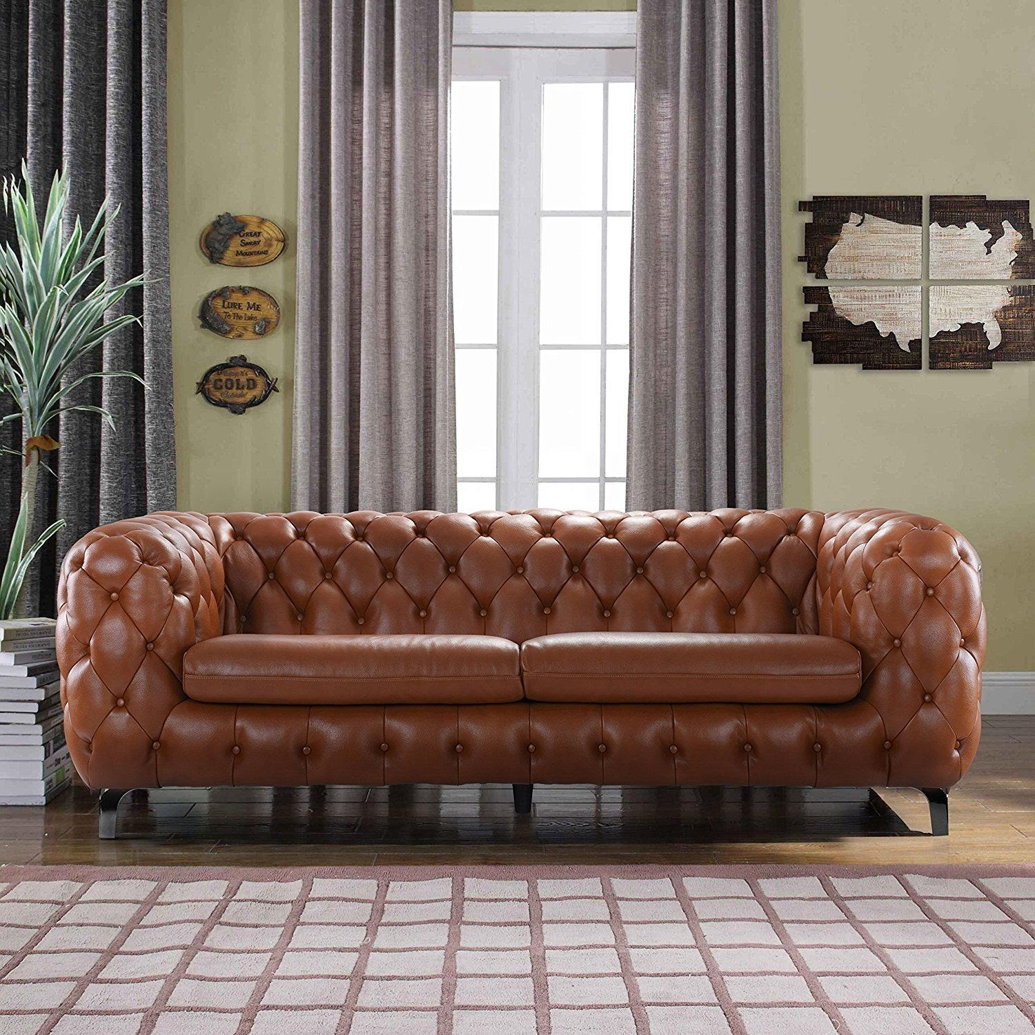Details About Modern Club Frame Sofa Real Leather Match Tufted Chesterfield Couch Camel