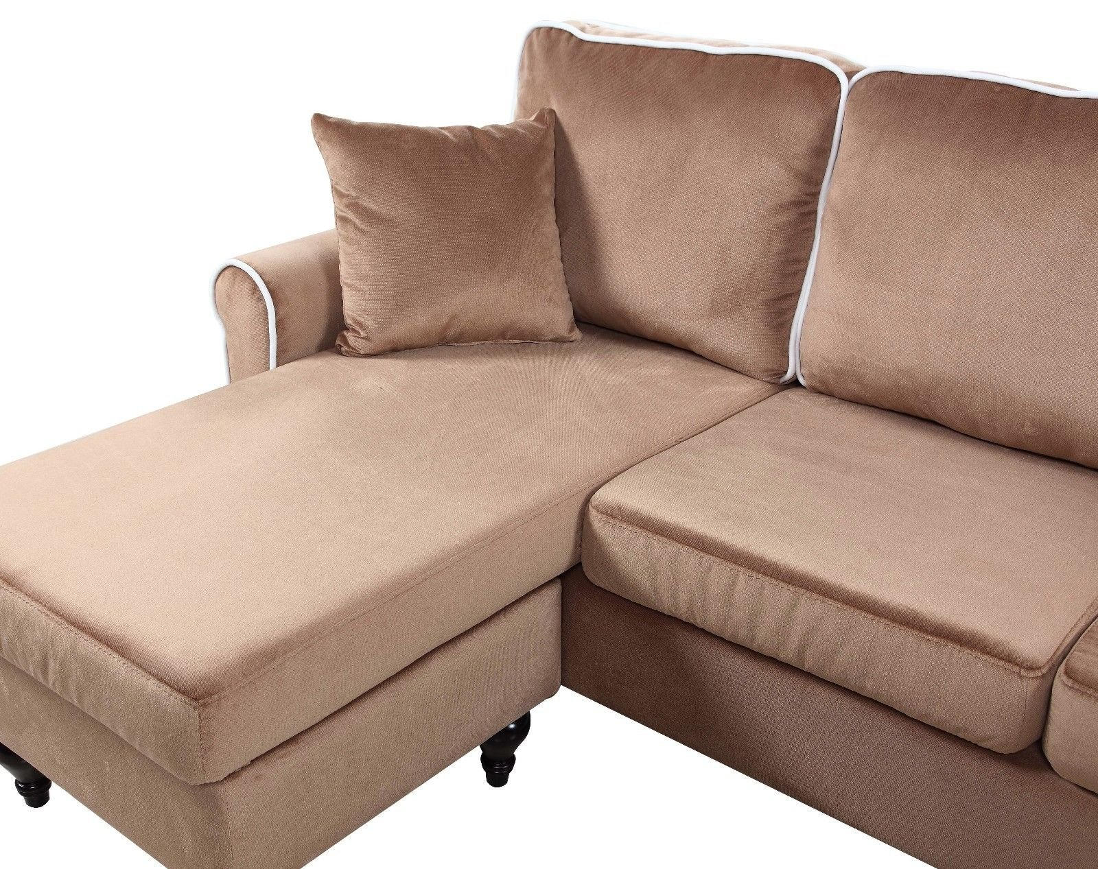 Classic And Traditional Small Space Velvet Sectional Sofa With Reversible  Chaise (Champagne)