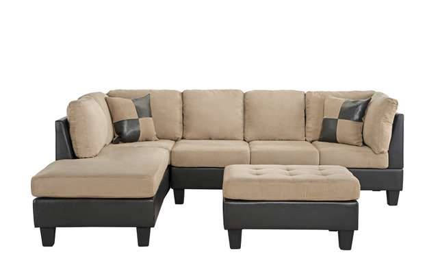 Surprising Details About 3 Piece Microfiber Faux Leather Sectional Sofa With Matching Ottoman Beige Customarchery Wood Chair Design Ideas Customarcherynet