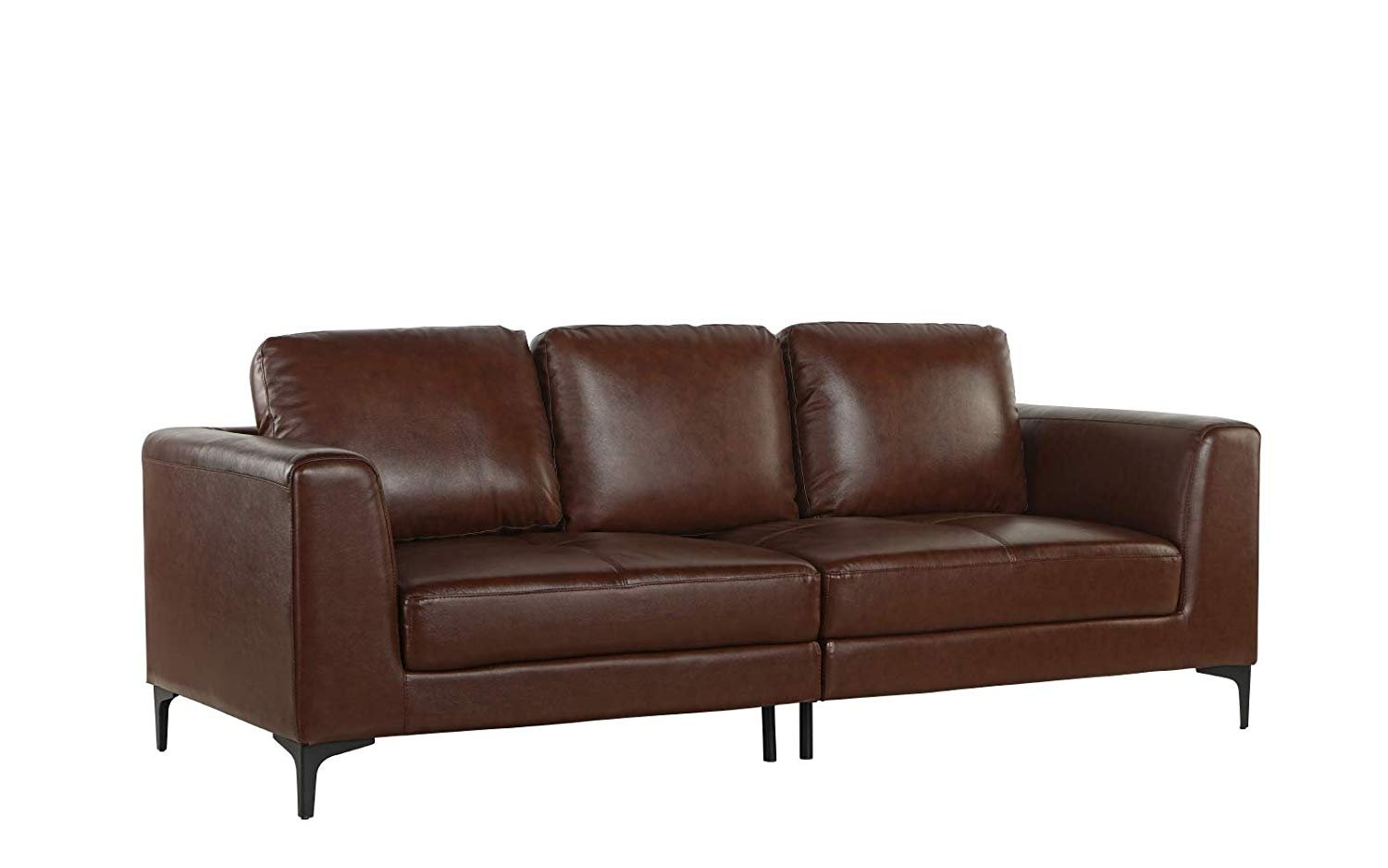 Details About Mid Century Modern Leather Fabric 3 Seat Sofa Couch 81 1 W Inches Dark Brown