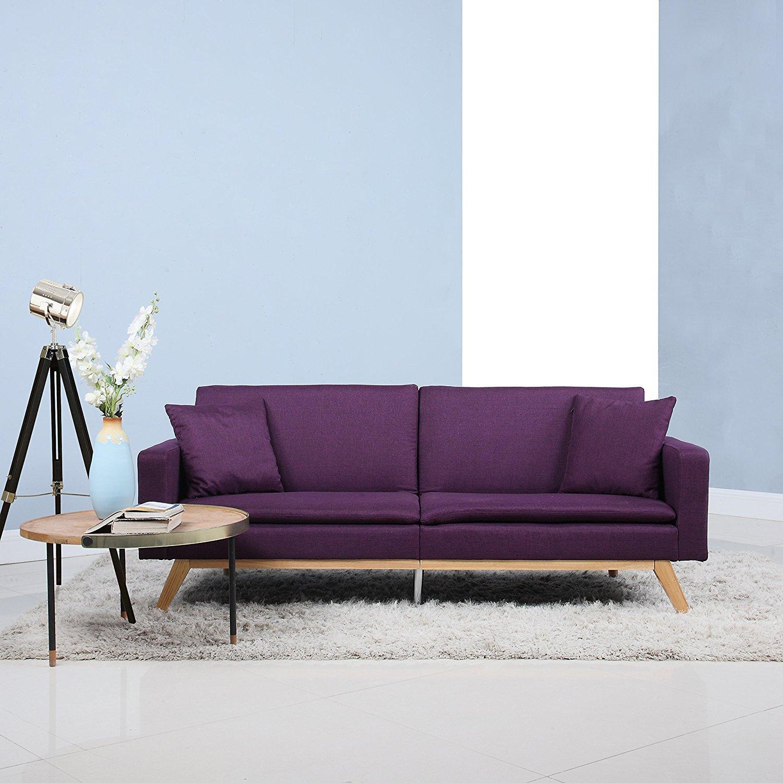 Sensational Details About Modern Tufted Sofa Linen Split Back Recliner Sleeper Futon Couch Purple Squirreltailoven Fun Painted Chair Ideas Images Squirreltailovenorg