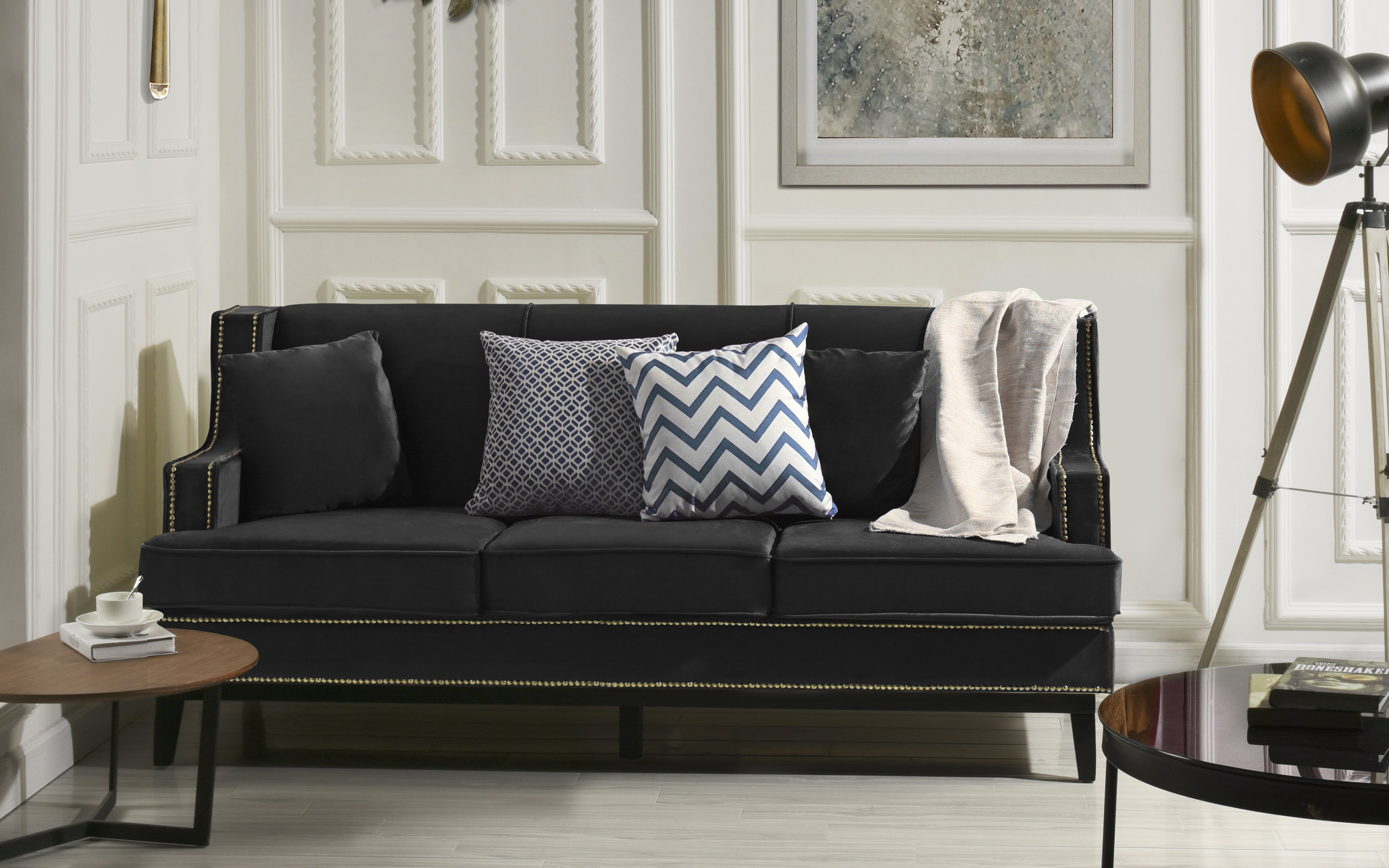 Details about Modern Vintage Style Soft Velvet Sofa, Couch with Nailhead  Trim Detail (Black)