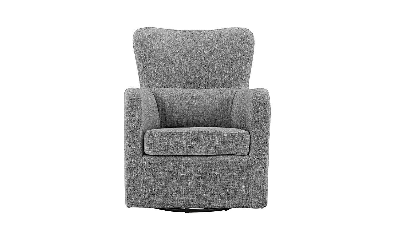 Modern Living Room Linen Fabric Swivel Armchair (Light Grey)