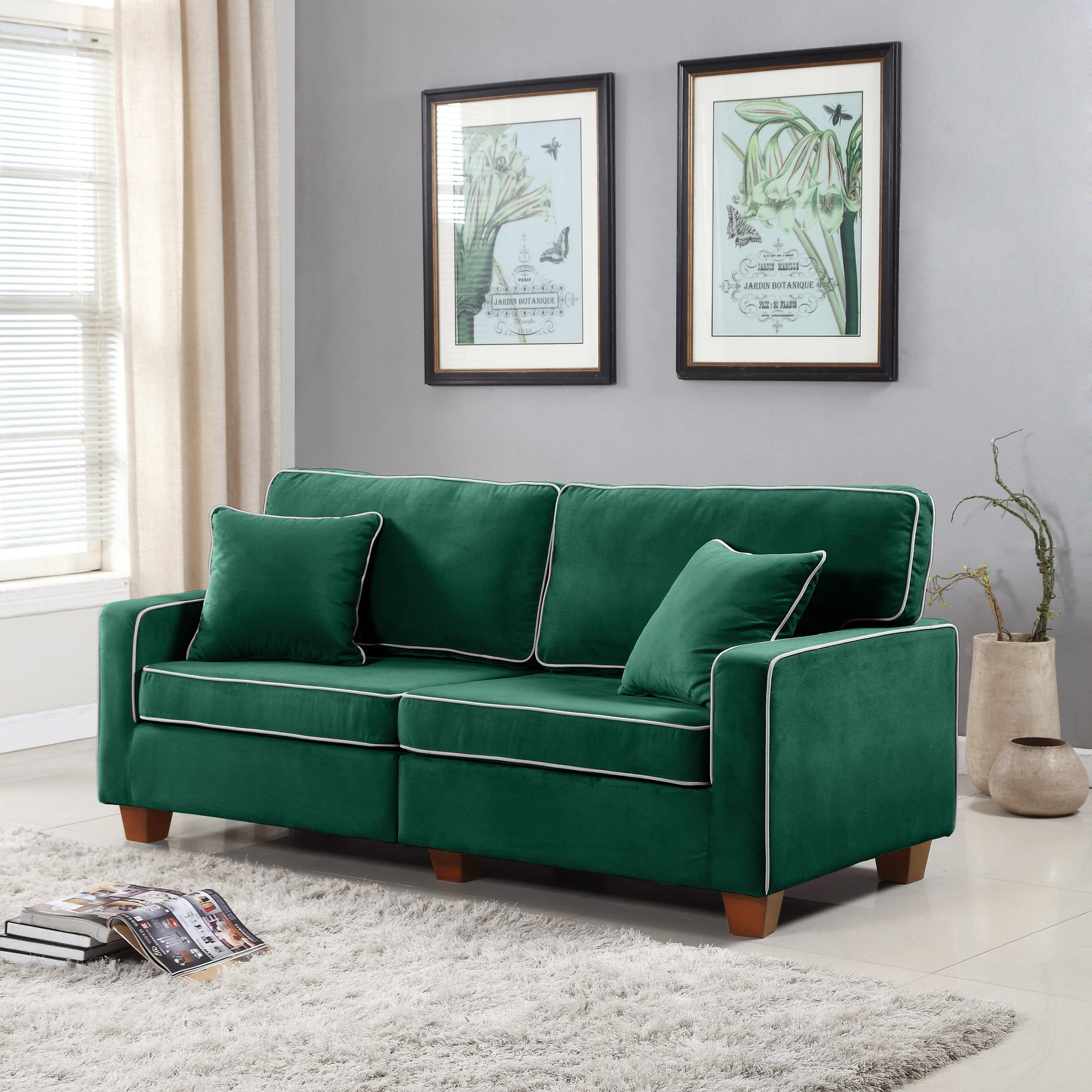 Excellent Details About Modern Two Tone Loveseat Sofa White Edge Trim Contrast Velvet Couch Green Ibusinesslaw Wood Chair Design Ideas Ibusinesslaworg