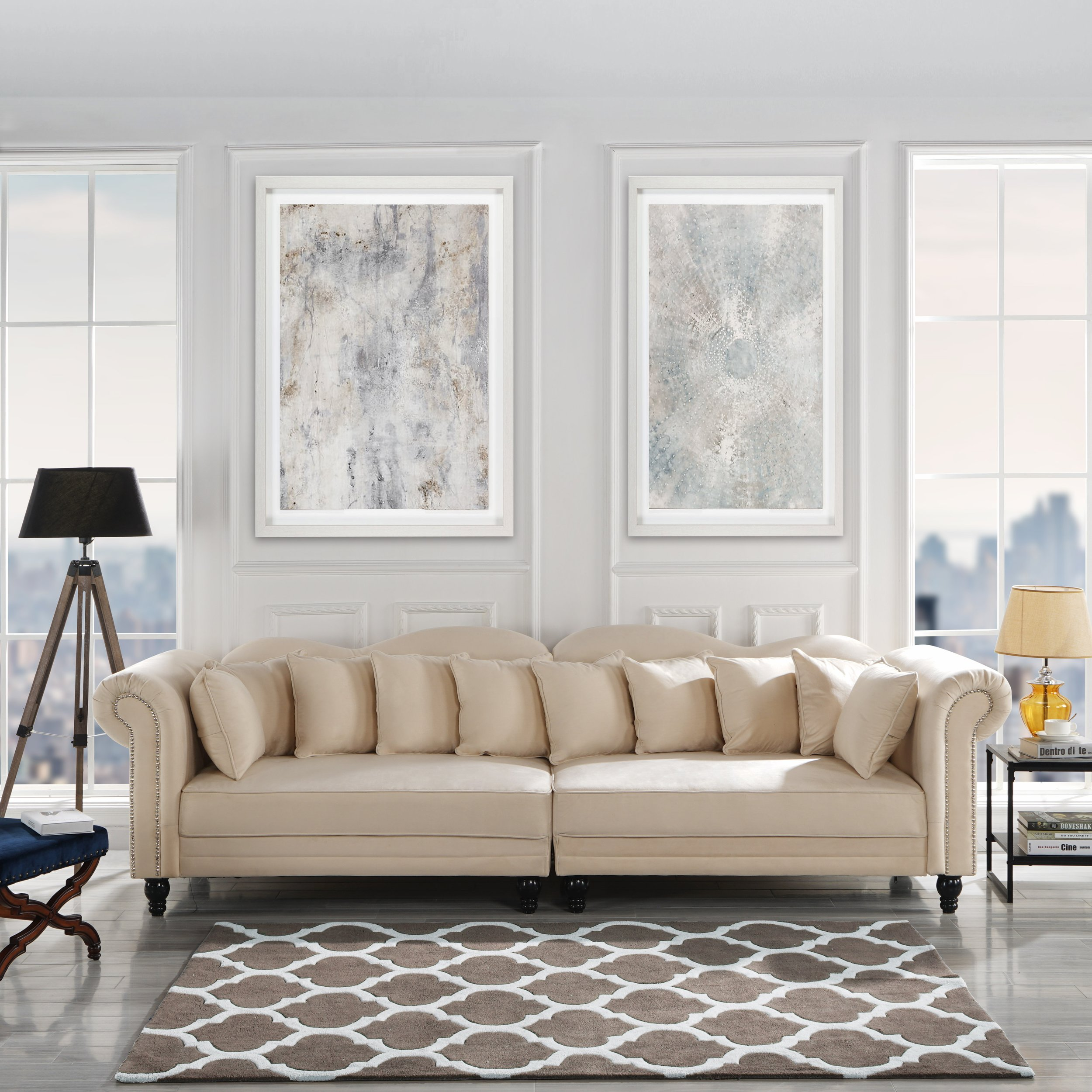 Details about Chesterfield Large Living Room Sofa, Classic Velvet  Upholstered Couch, Beige