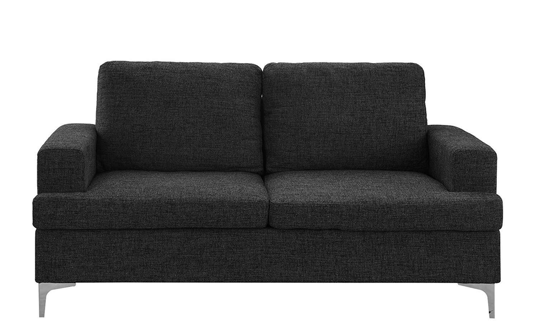 Tremendous Details About Modern Sofa Dark Grey Mid Century Loveseat Linen Fabric For Small Space Couch Inzonedesignstudio Interior Chair Design Inzonedesignstudiocom