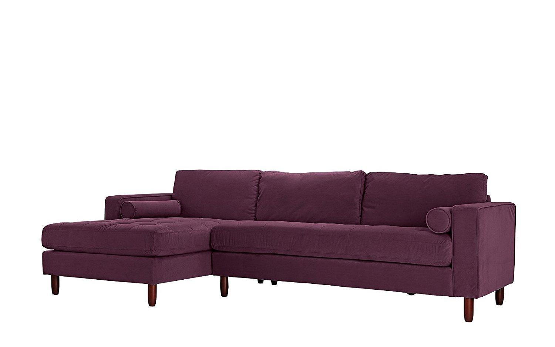 Picture of: Sofa Seccional Con Pelo Insertado Tejido De Terciopelo L Forma Sofa Izquierda Enfrenta A Chaise Purpura Ebay