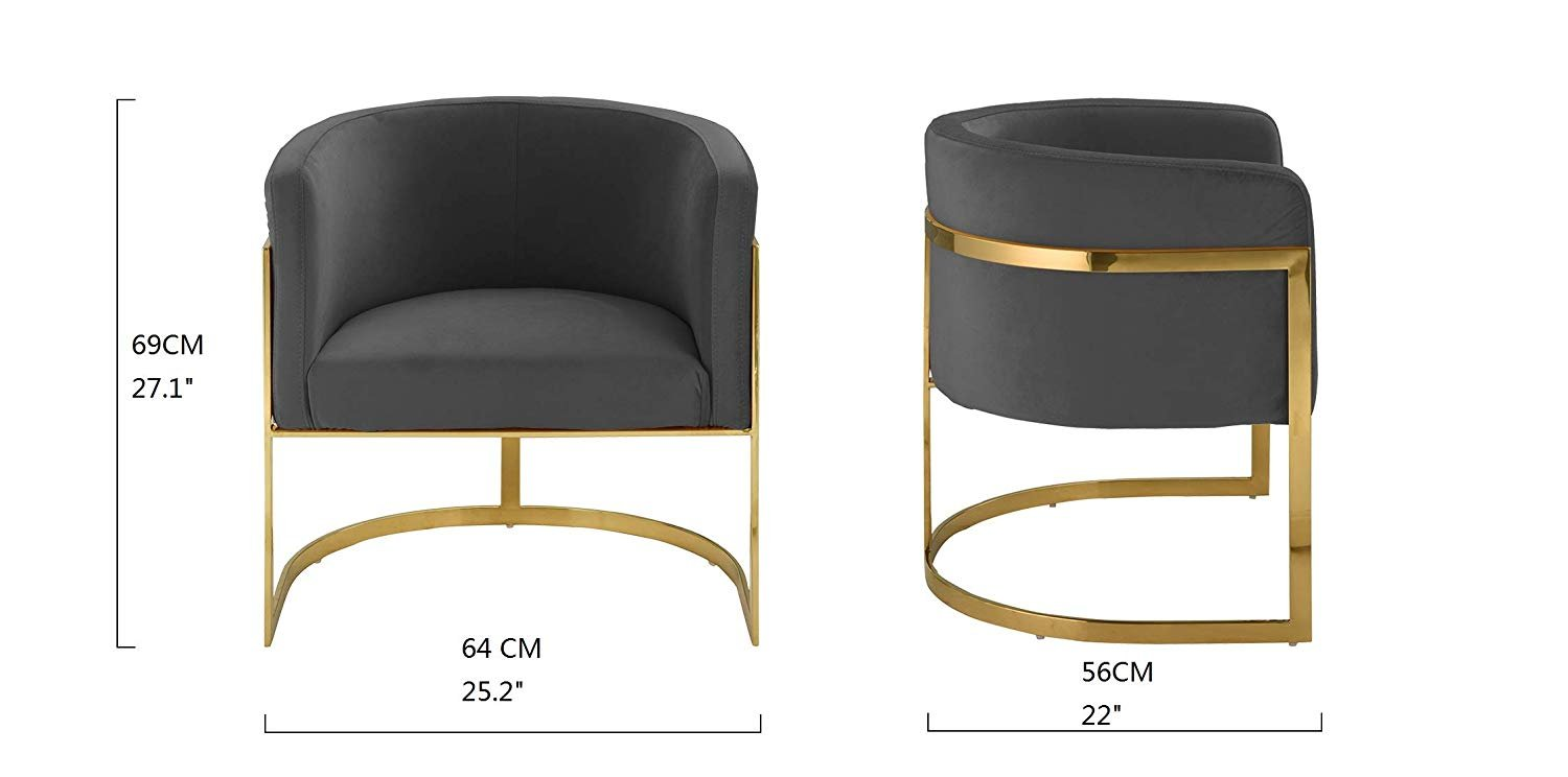 Modern Round Brush Microfiber Armchair with Gold Frame ...