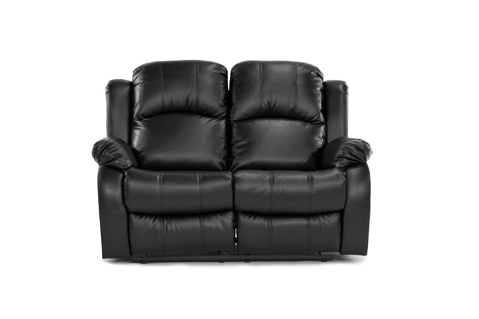 Details About Black Recliner 2 Seater Love Seat Over Stuffed Bonded Leather Chair