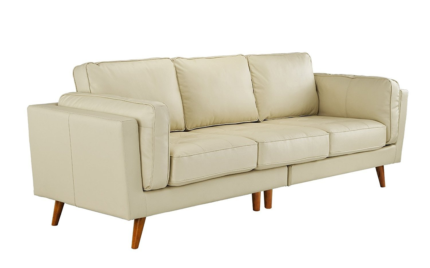 Details About Classic Mid Century Modern Couch Tufted Leather Sofa Wooden Legs Beige